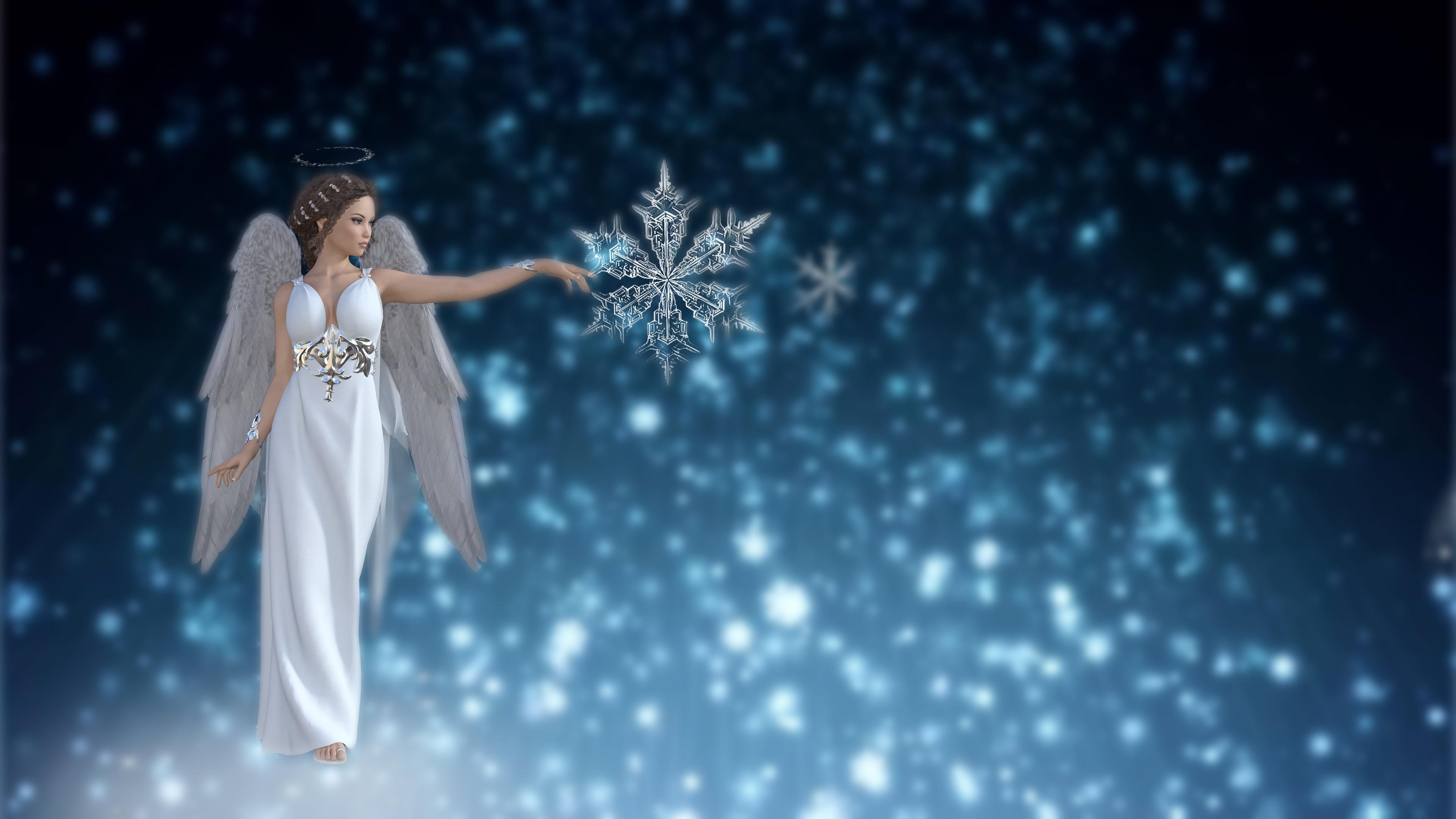 Desktop Hintergrundbilder Fantasy Mädchens 3D-Grafik Schneeflocken Engel 3840x2160 junge frau junge Frauen Engeln