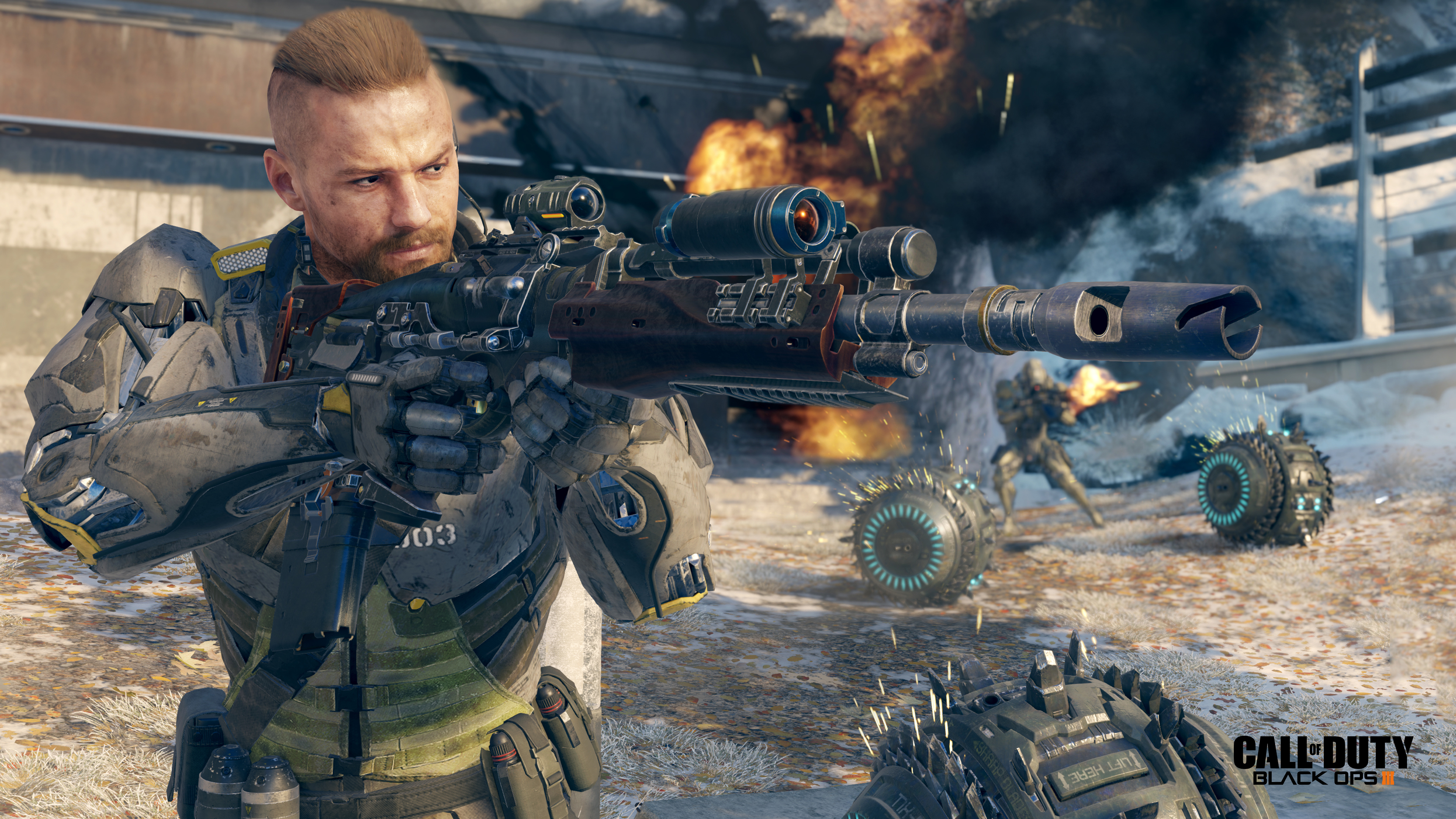 Images Call Of Duty Sniper Rifle Rifles Soldier Men Black 3840x2160