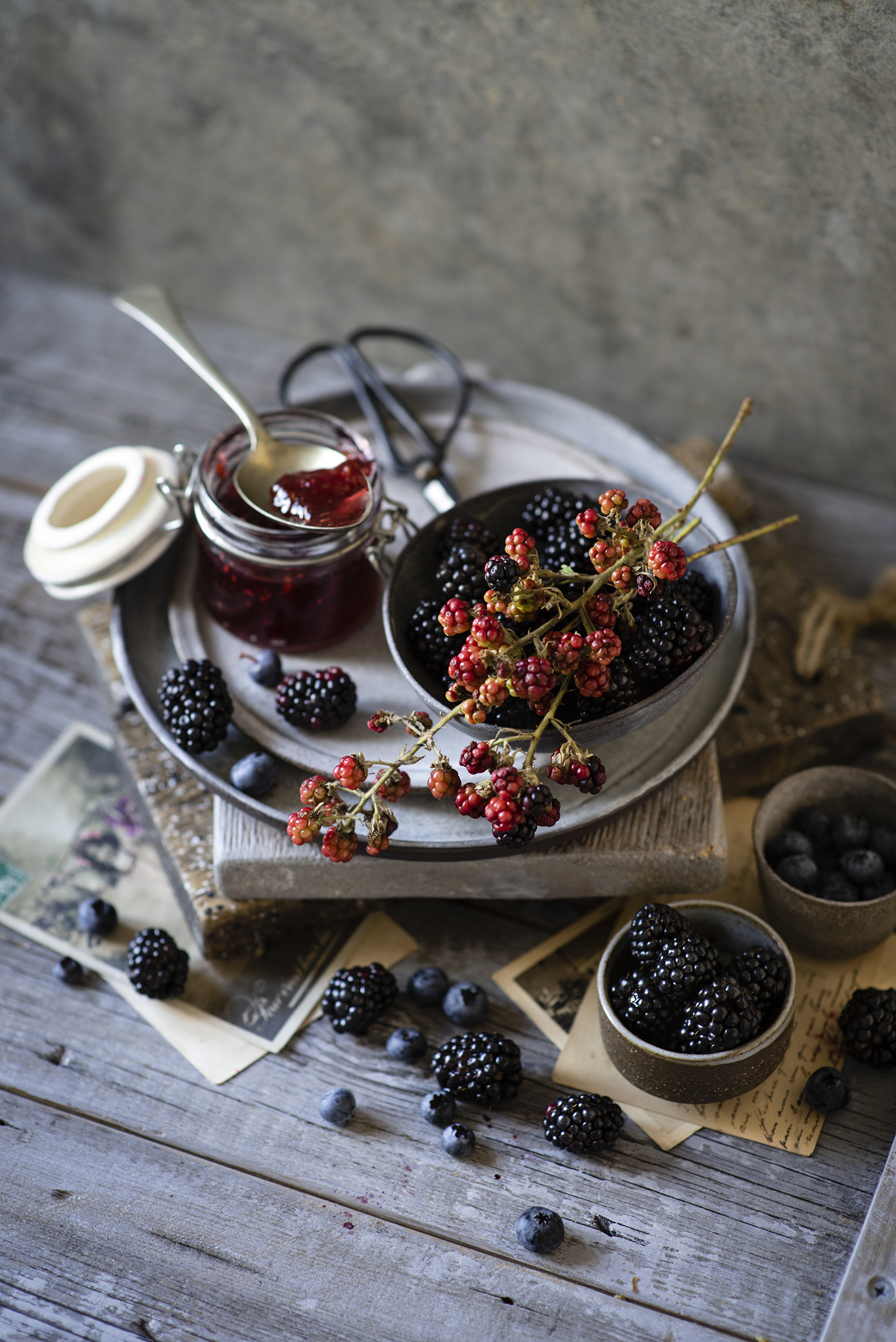 Images Fruit preserves Jar Blackberry Blueberries Food Berry Wood planks  for Mobile phone Jam Varenye boards