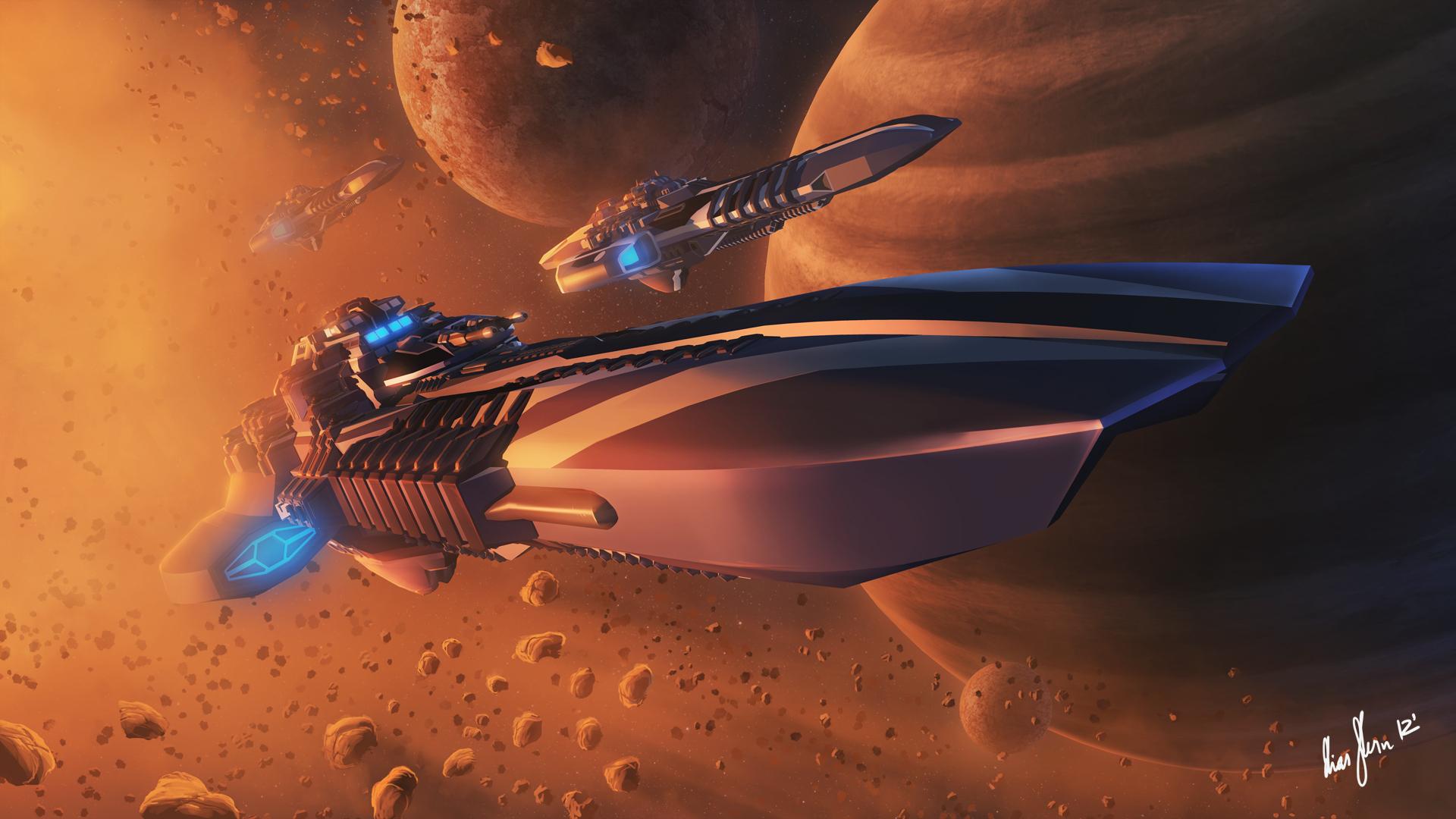 Photos Planets asteroid Starship Space Fantasy Technics Fantasy 1920x1080 planet Asteroids