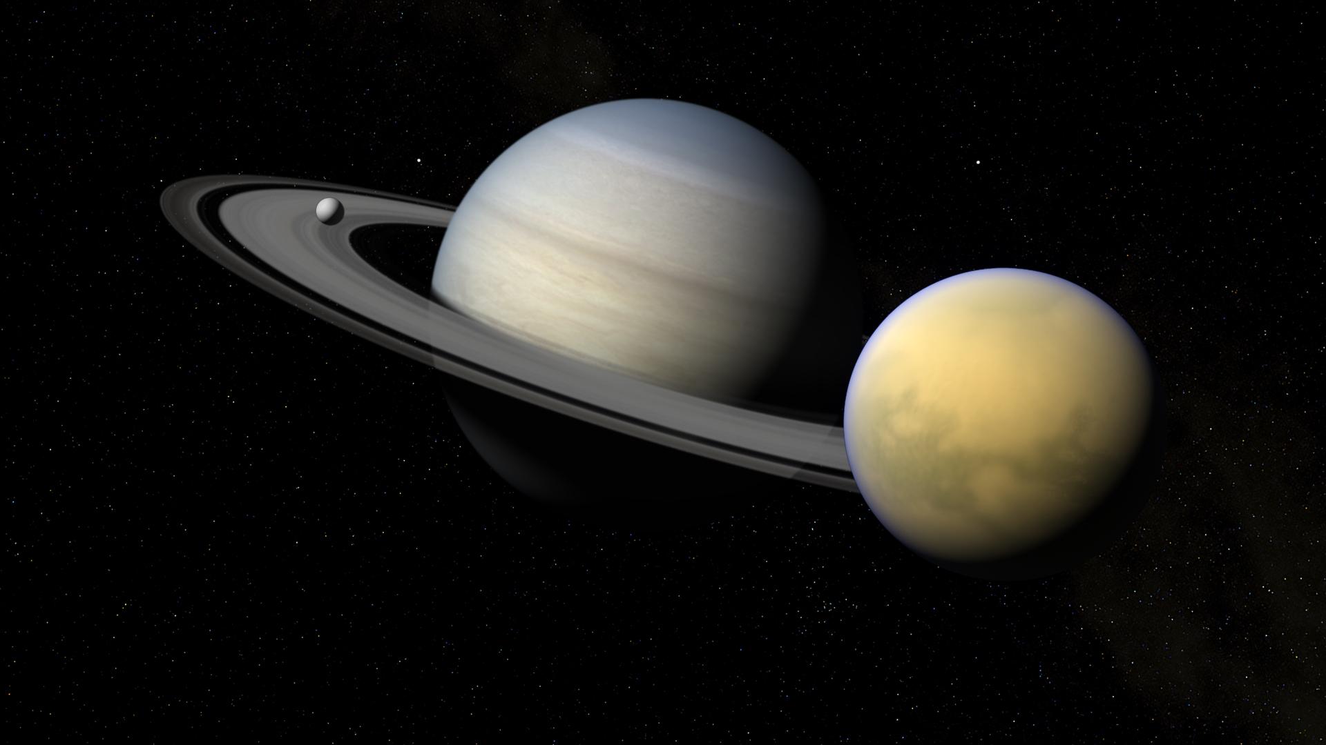 Desktop Wallpapers Planetary Ring Planet Titan Enceladus