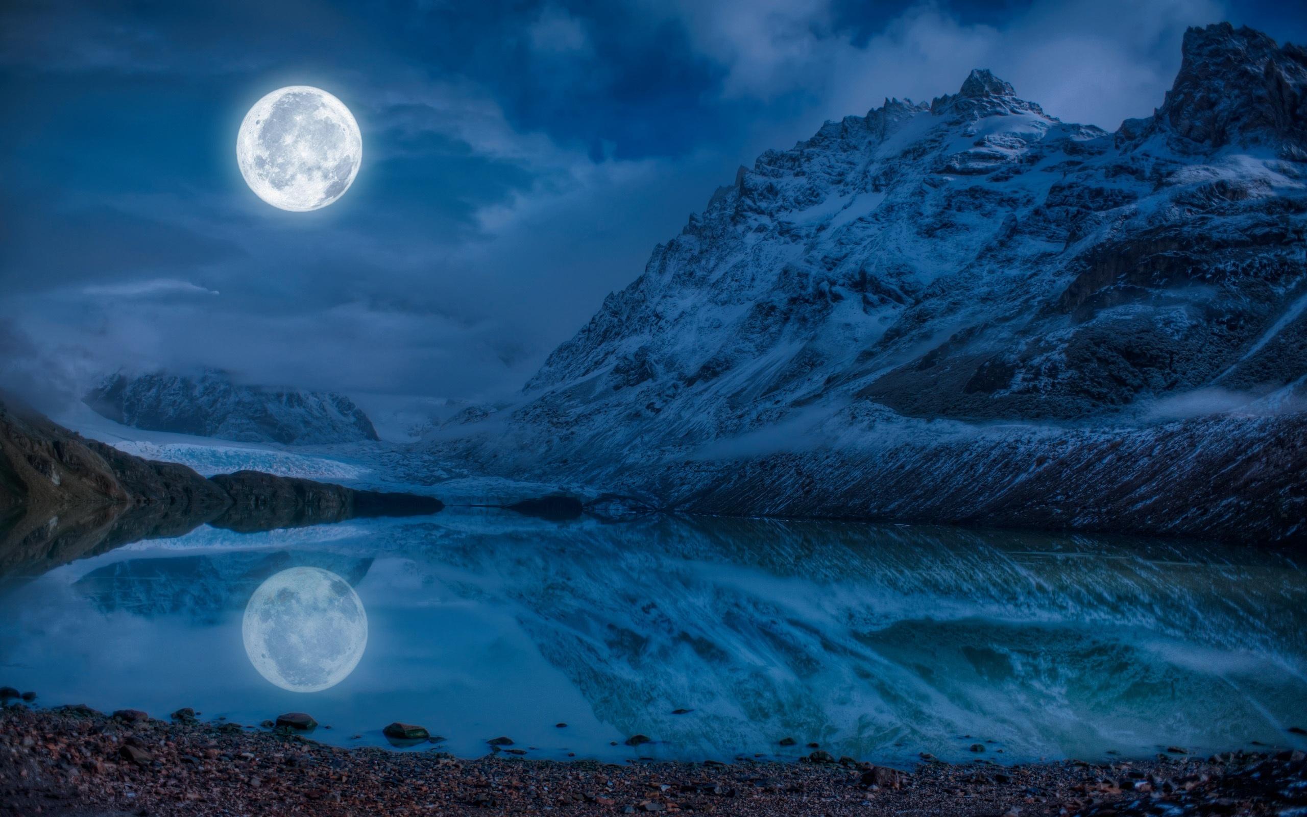 壁紙 2560x1600 風景写真 山 湖 月 夜 倒影 自然 ダウンロード 写真