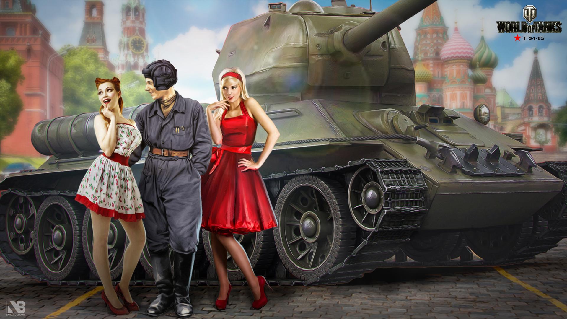 Wallpaper girl, tank, girl, tanks, WoT, World of tanks
