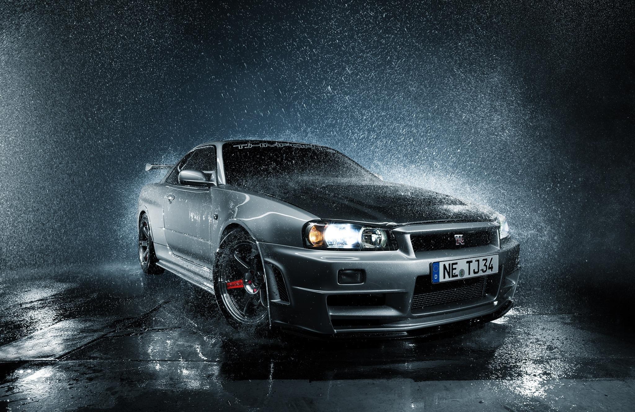 壁紙 雨 日産自動車 Skyline R34 Gtr 正面図 銀色 水滴 前照灯