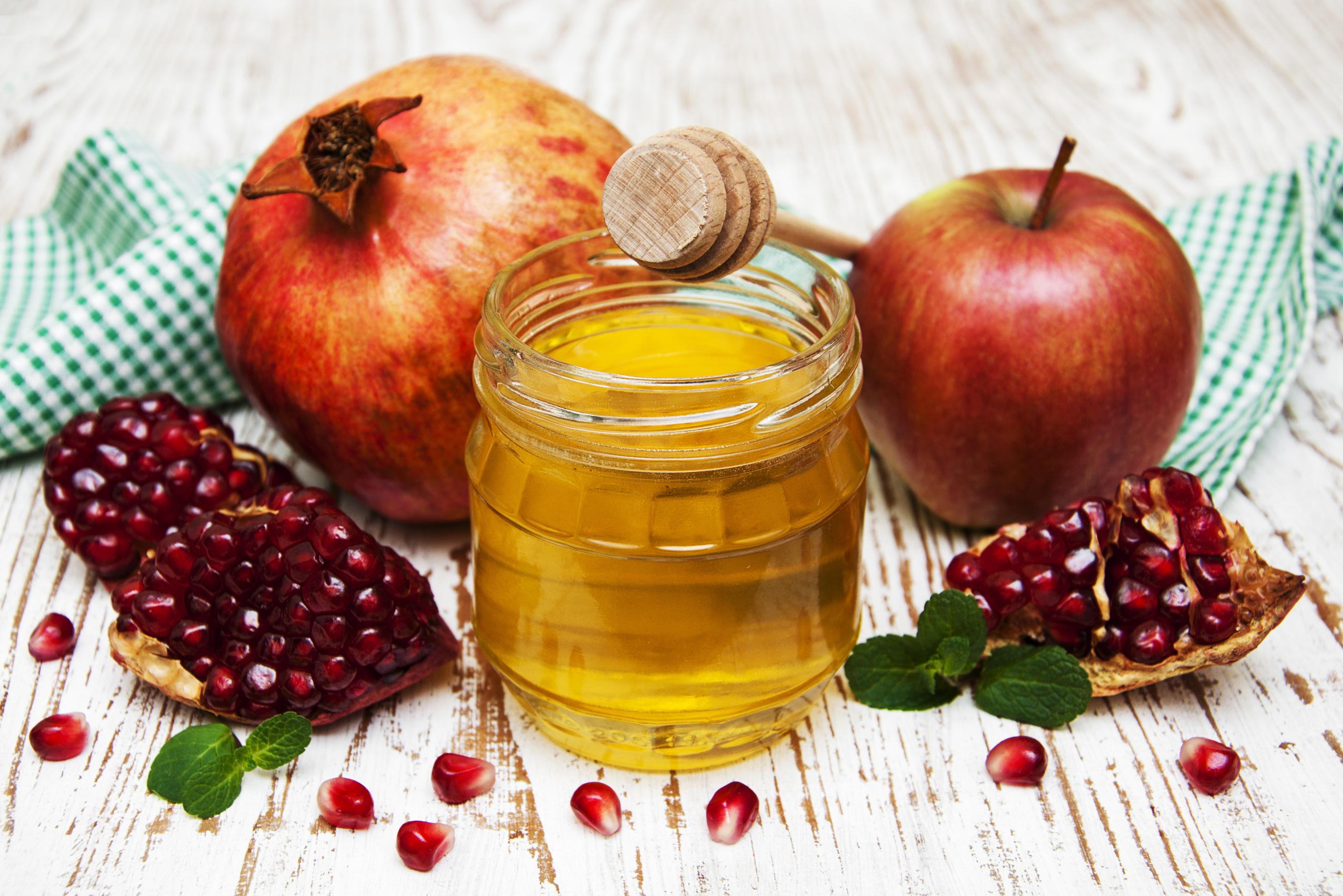 Fotos von Honig Äpfel Weckglas Getreide Granatapfel Lebensmittel Bretter 2750x1835 Einweckglas das Essen