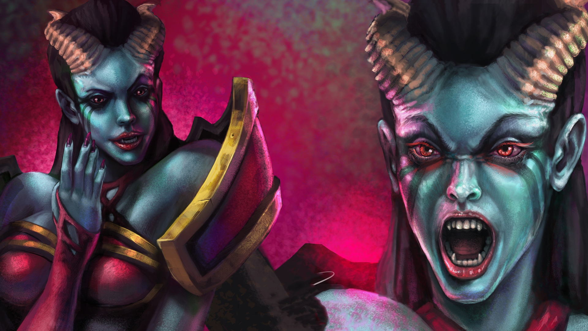 Images Dota 2 Queen Of Pain Demons Horns Face Girls 1920x1080