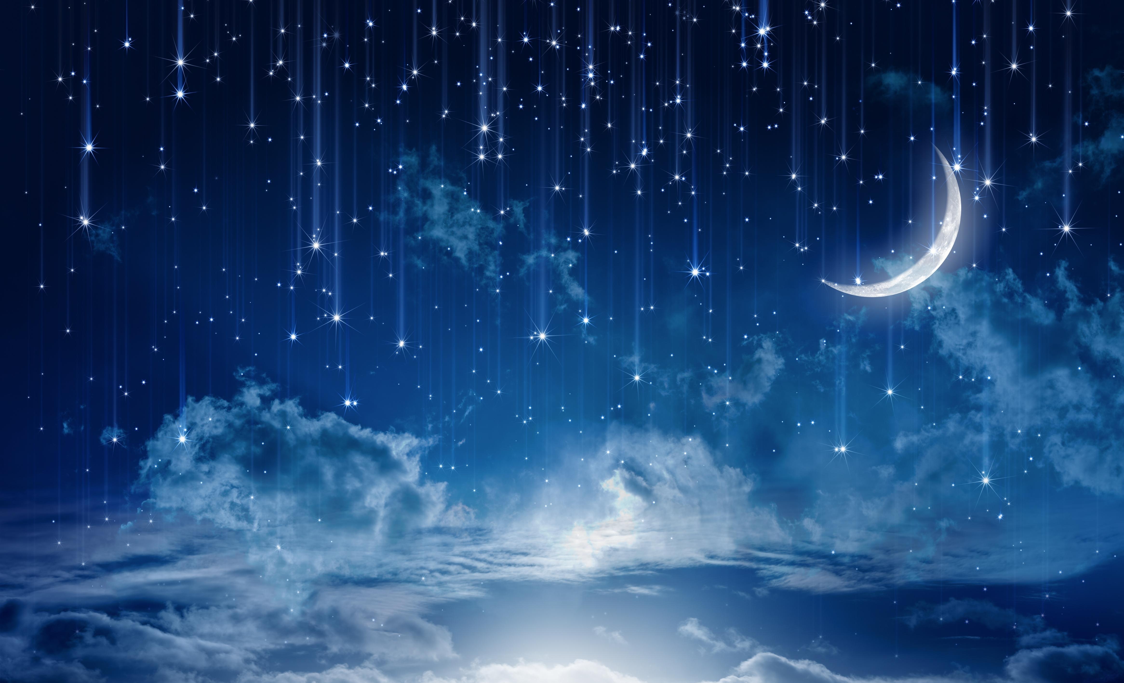 Ciel Étoile Lune Nuage Nature
