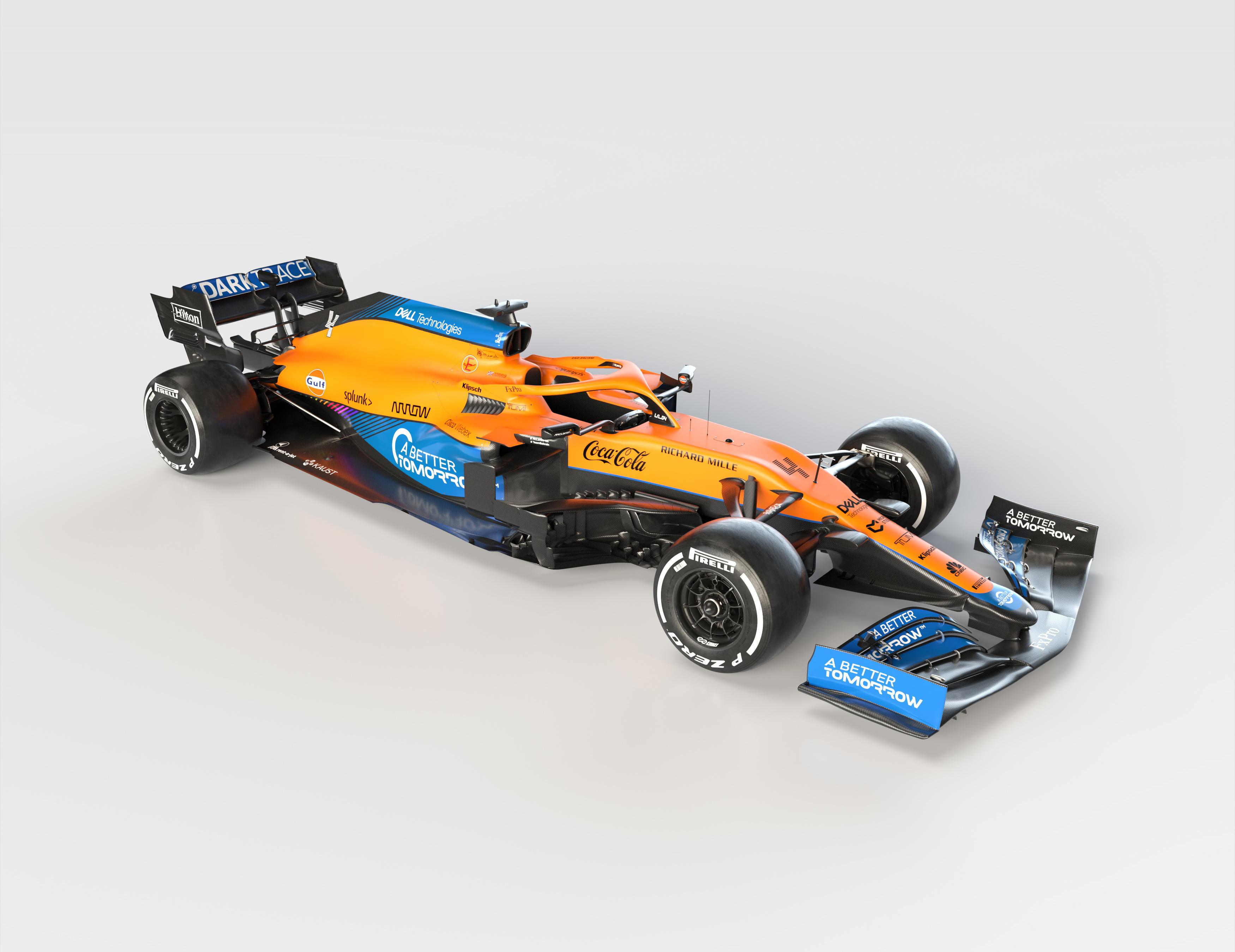 Bilder på skrivbordet Tuning McLaren 2021 MCL35M Formel 1 automobil Grå bakgrund bil Bilar