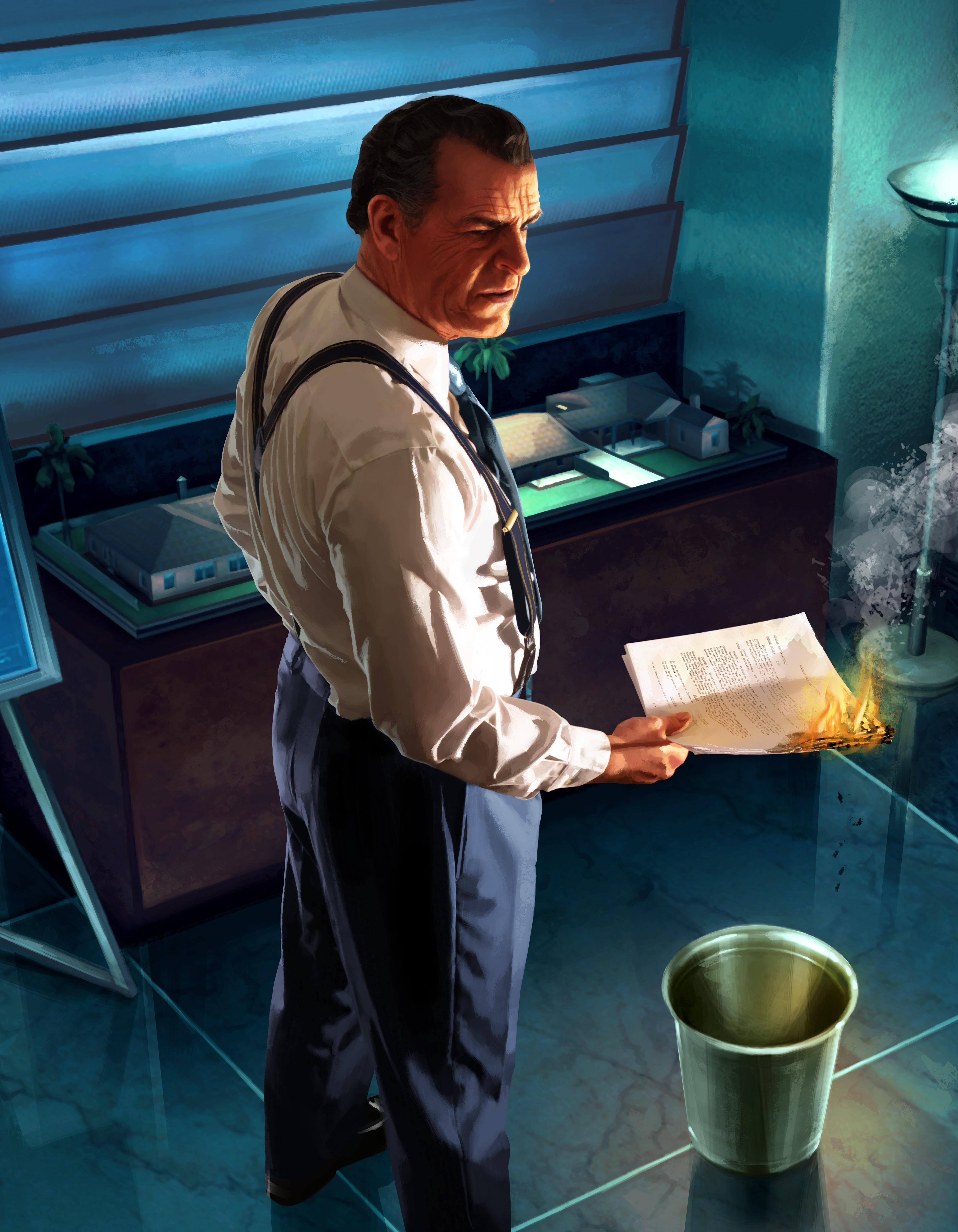 zdjęcia L.A. Noire mężczyzna Burning Evidence płomień Gry wideo 4472x5750 dla Telefon komórkowy Mężczyźni Ogień gra wideo komputerowa