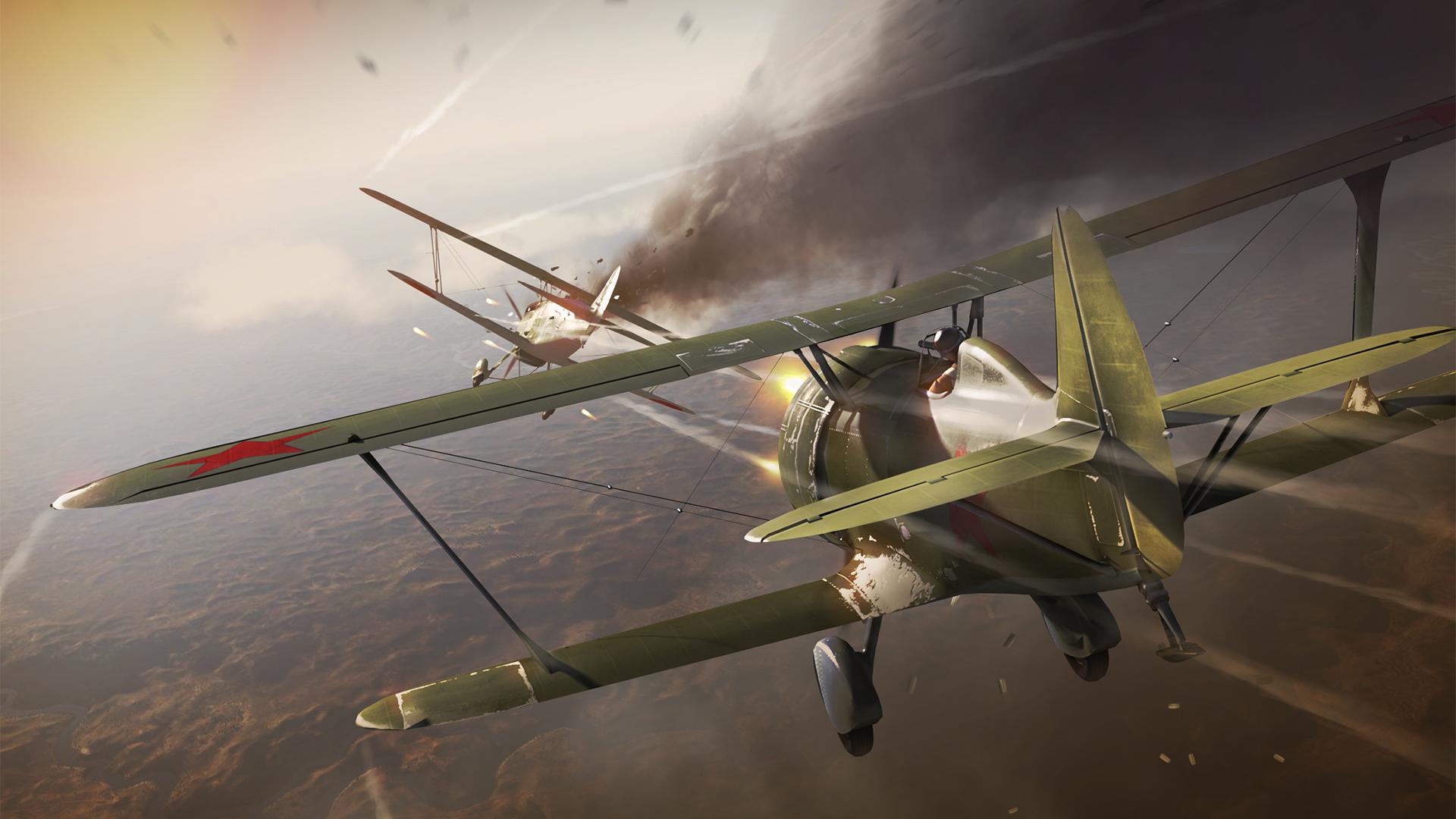 Image War Thunder Airplane I-15 3D Graphics Games 1920x1080