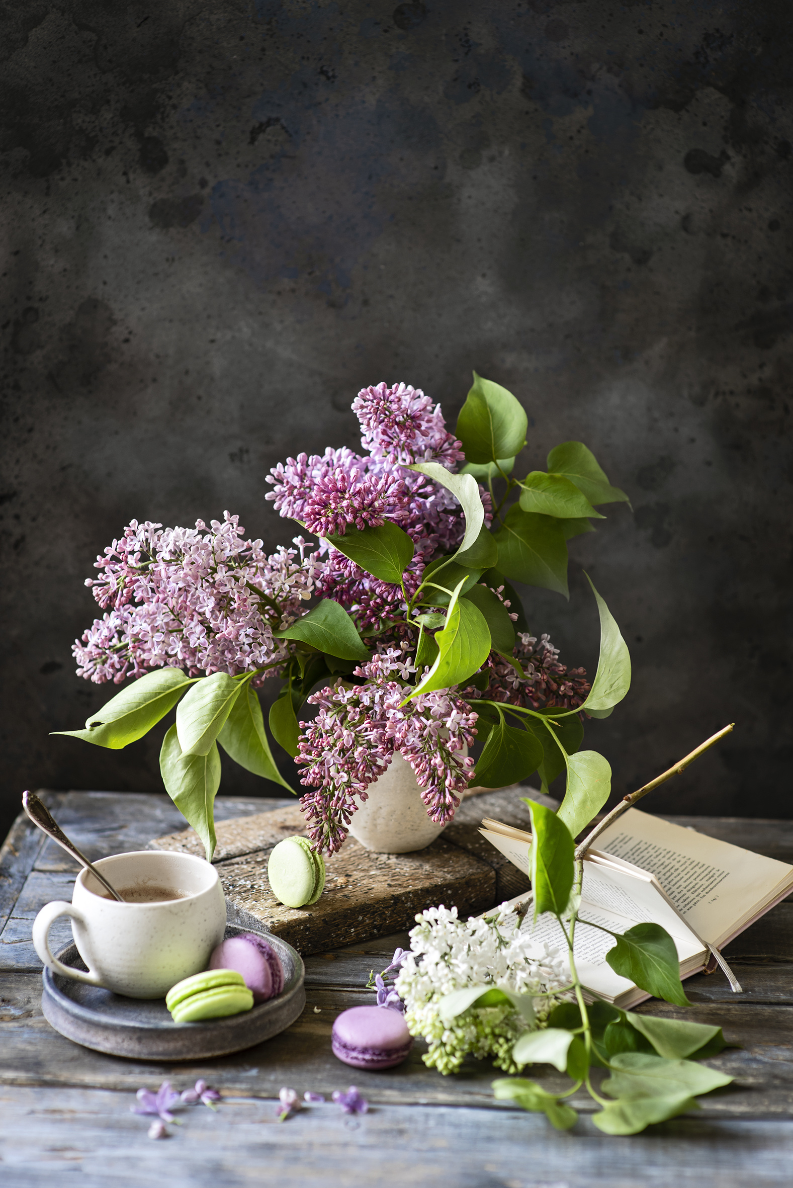 Photo french macarons Coffee Lilac Flowers Cup Food Branches Still-life  for Mobile phone Macaron flower Syringa