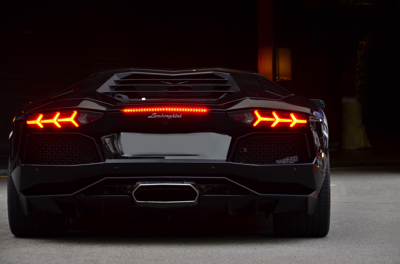 Picture Lamborghini Aventador Lp700 4 Black Auto Back View
