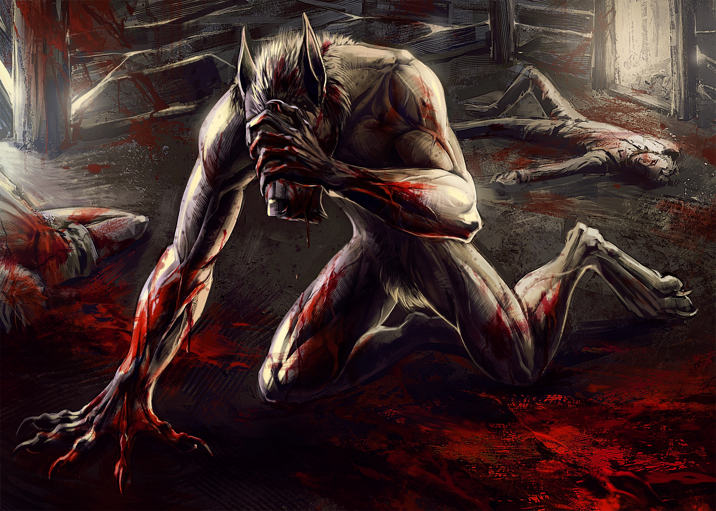 Image Monster Lycanthrope Blood Dead Cadaver Corpse 2500x1786