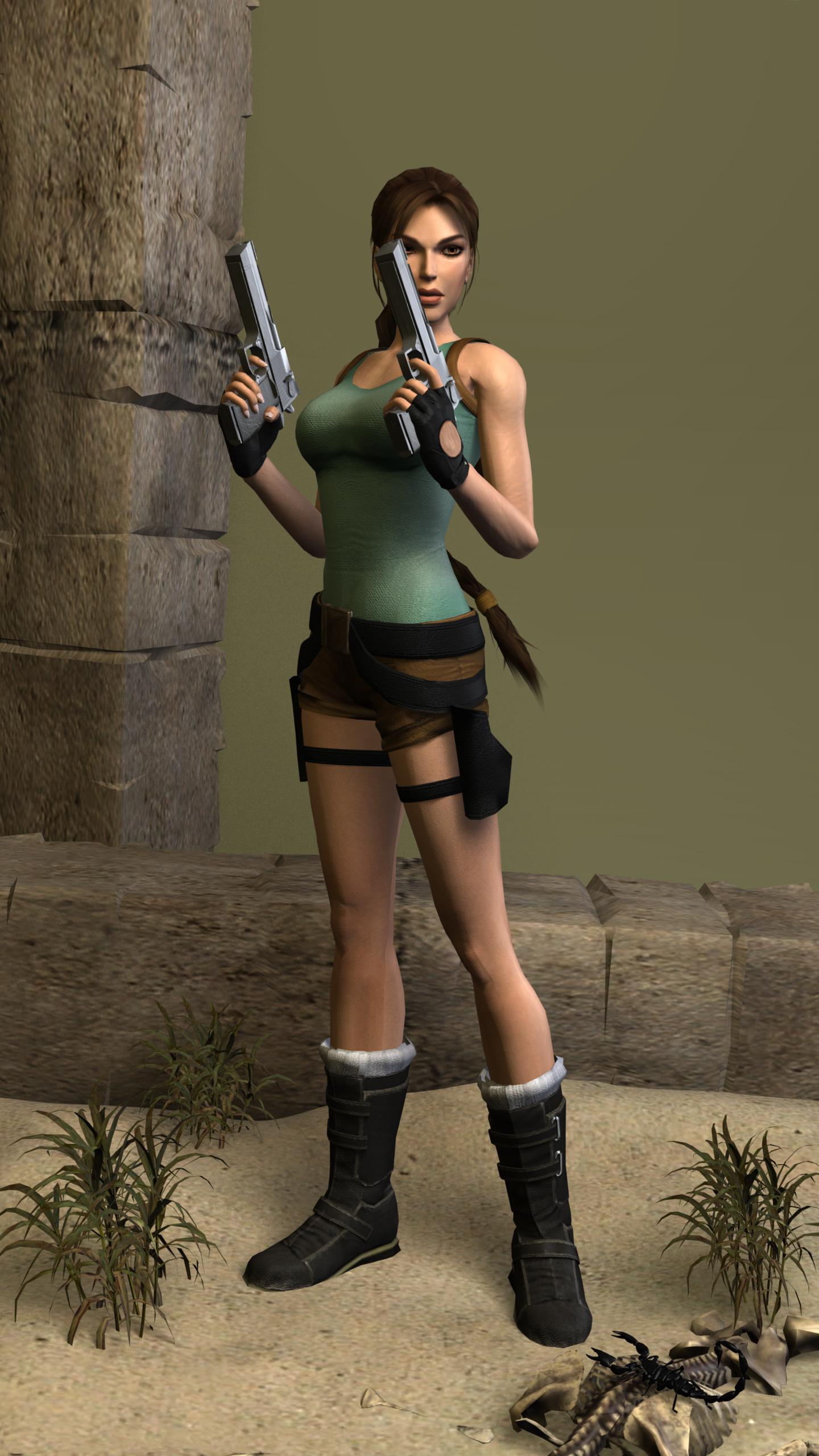 Fotos von Tomb Raider Tomb Raider Legend Pistolen Lara Croft Pose Mädchens 3D-Grafik Spiele  für Handy Pistole posiert junge frau junge Frauen computerspiel