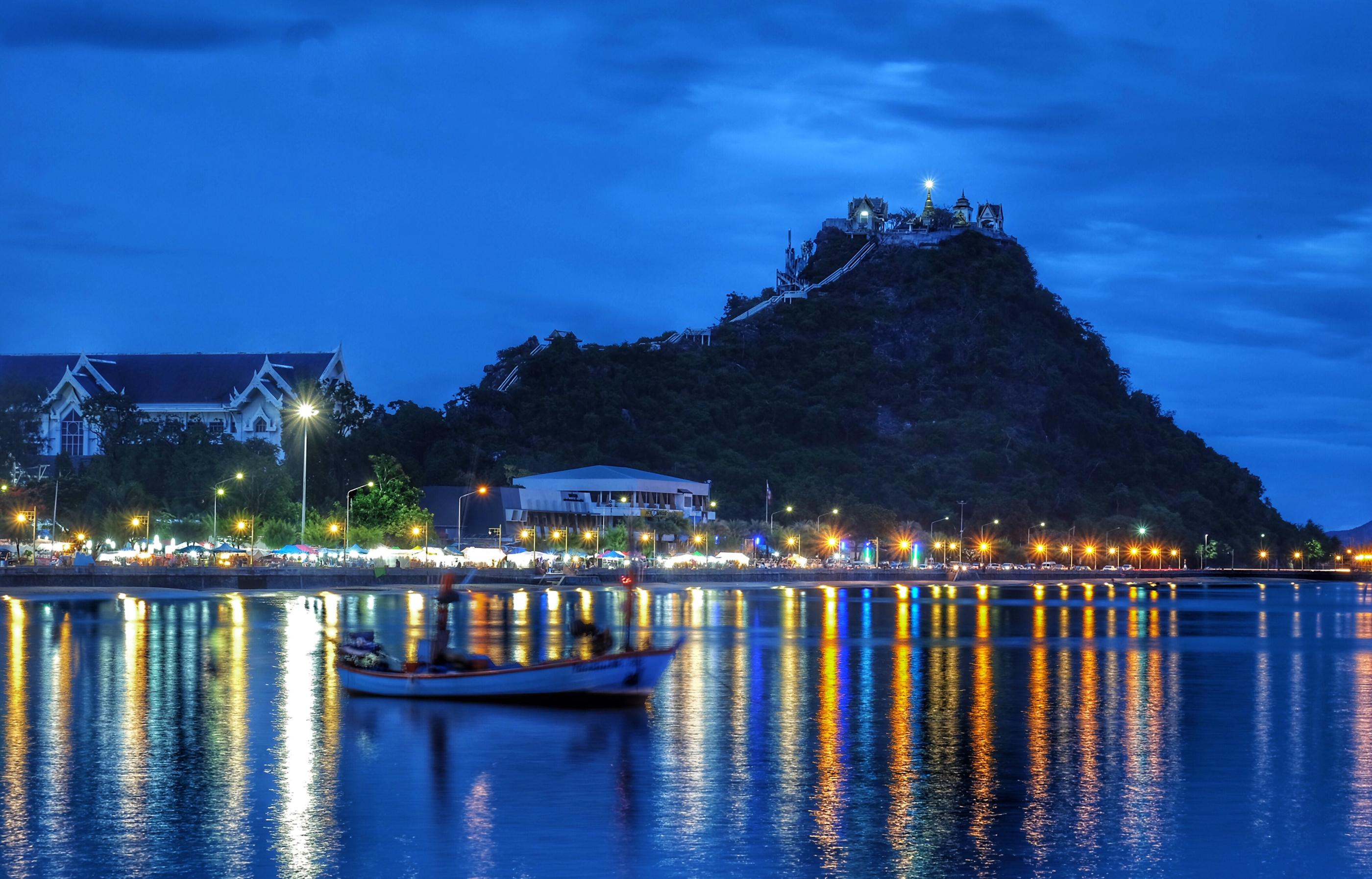 、タイ王国、住宅、夕、街灯、建物、都市