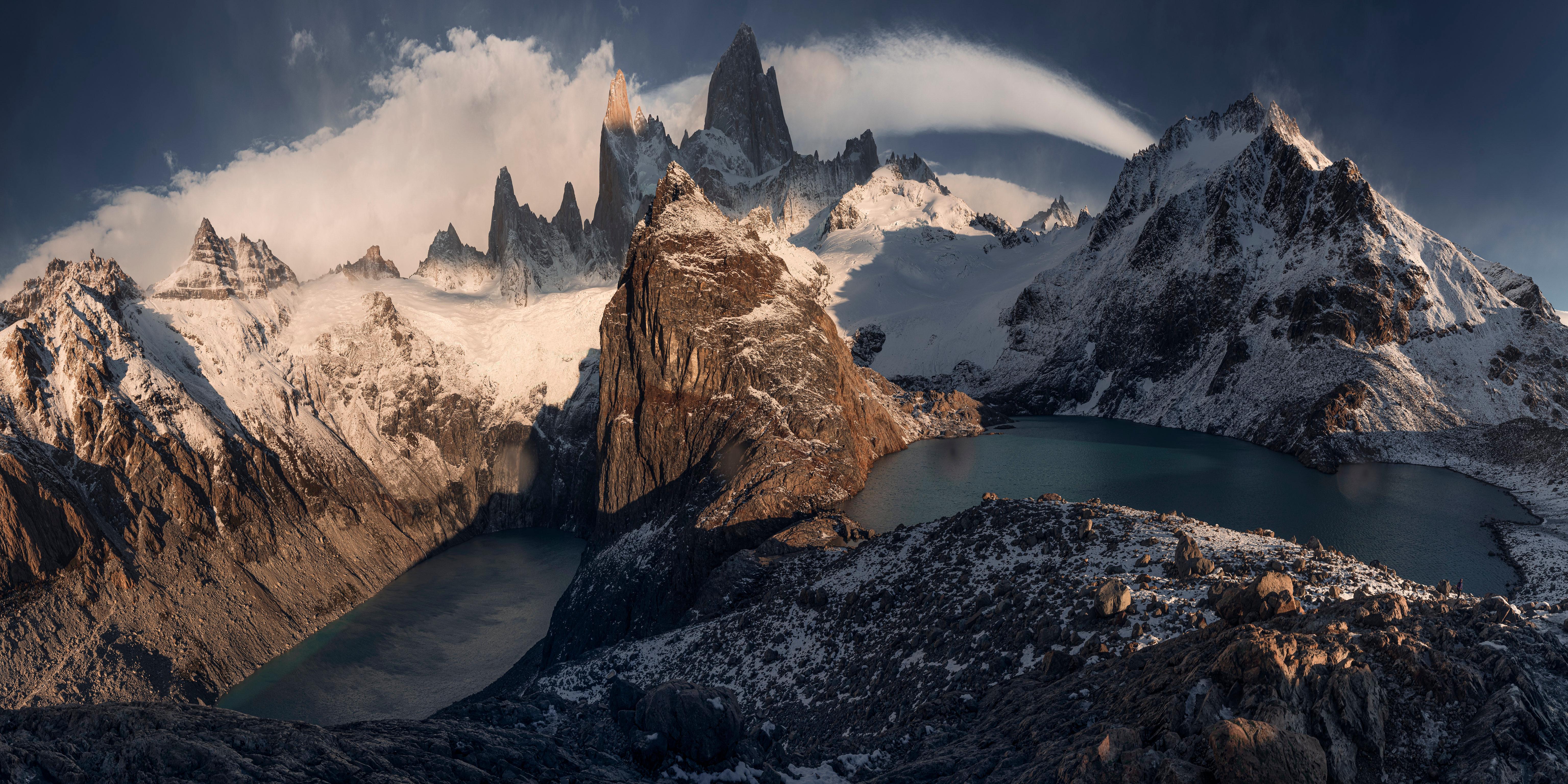 Photos Argentina Panorama Patagonia, Fitzroy Massif Crag Nature mountain Clouds panoramic Rock Cliff Mountains