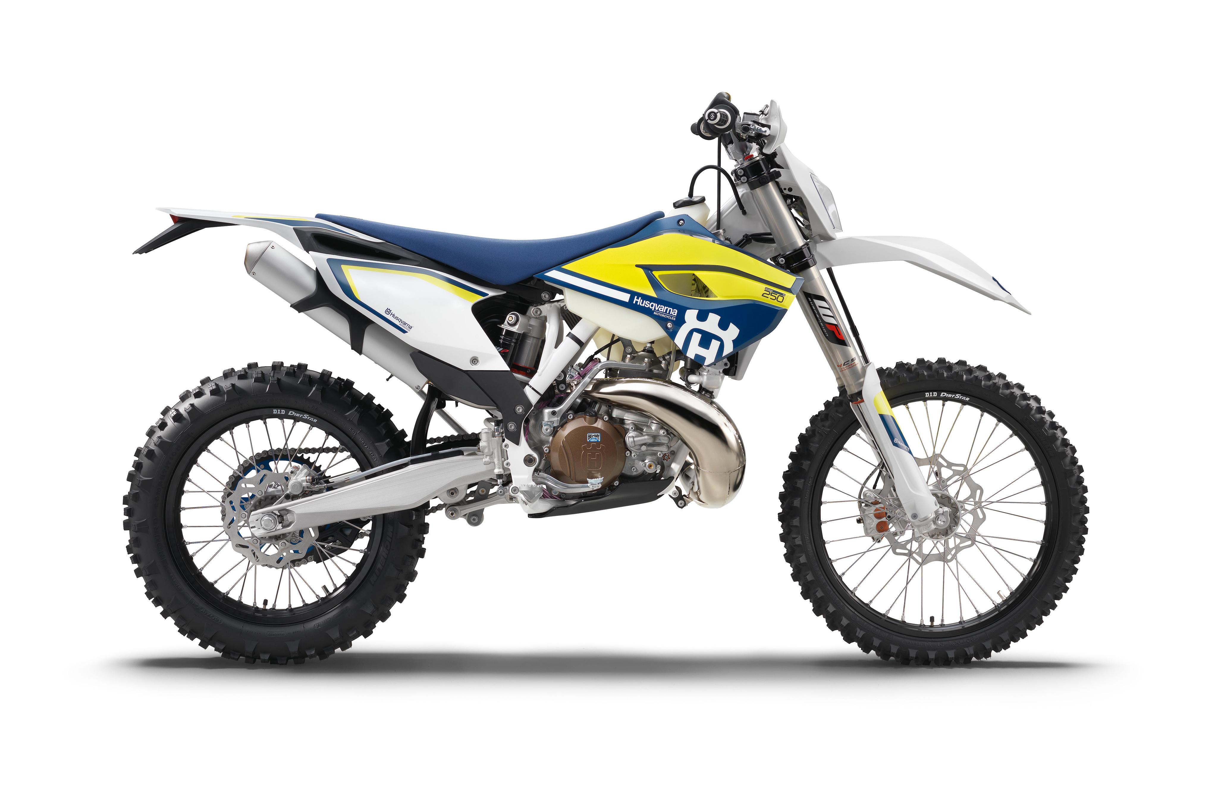Afbeeldingen 2016-21 Husqvarna TE 250 motorfiets Zijaanzicht Witte achtergrond 4096x2688 Motorfietsen