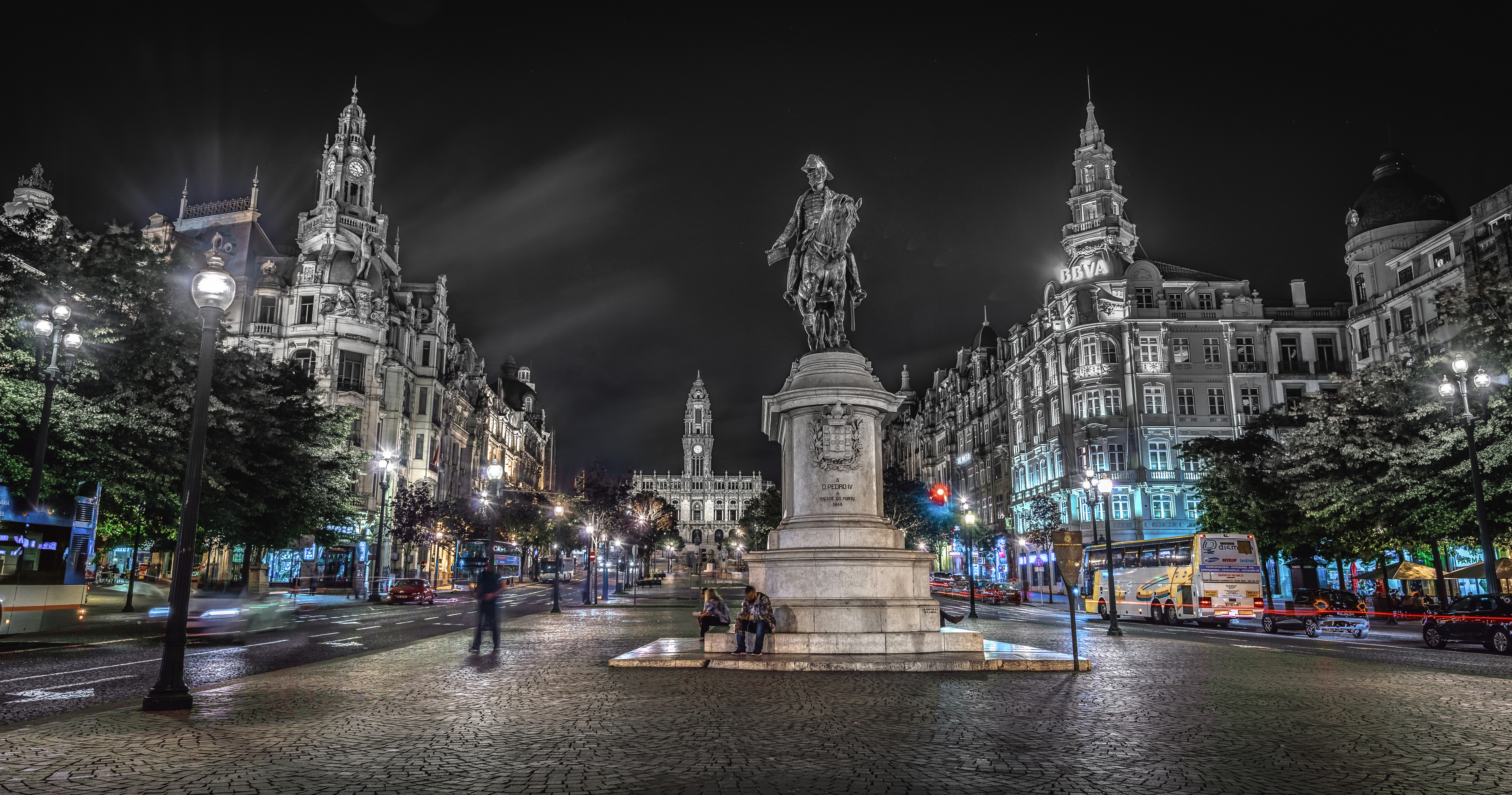 Desktop Wallpapers Porto Portugal Monuments Town square night time Cities Building 6144x3231 Oporto Night Houses