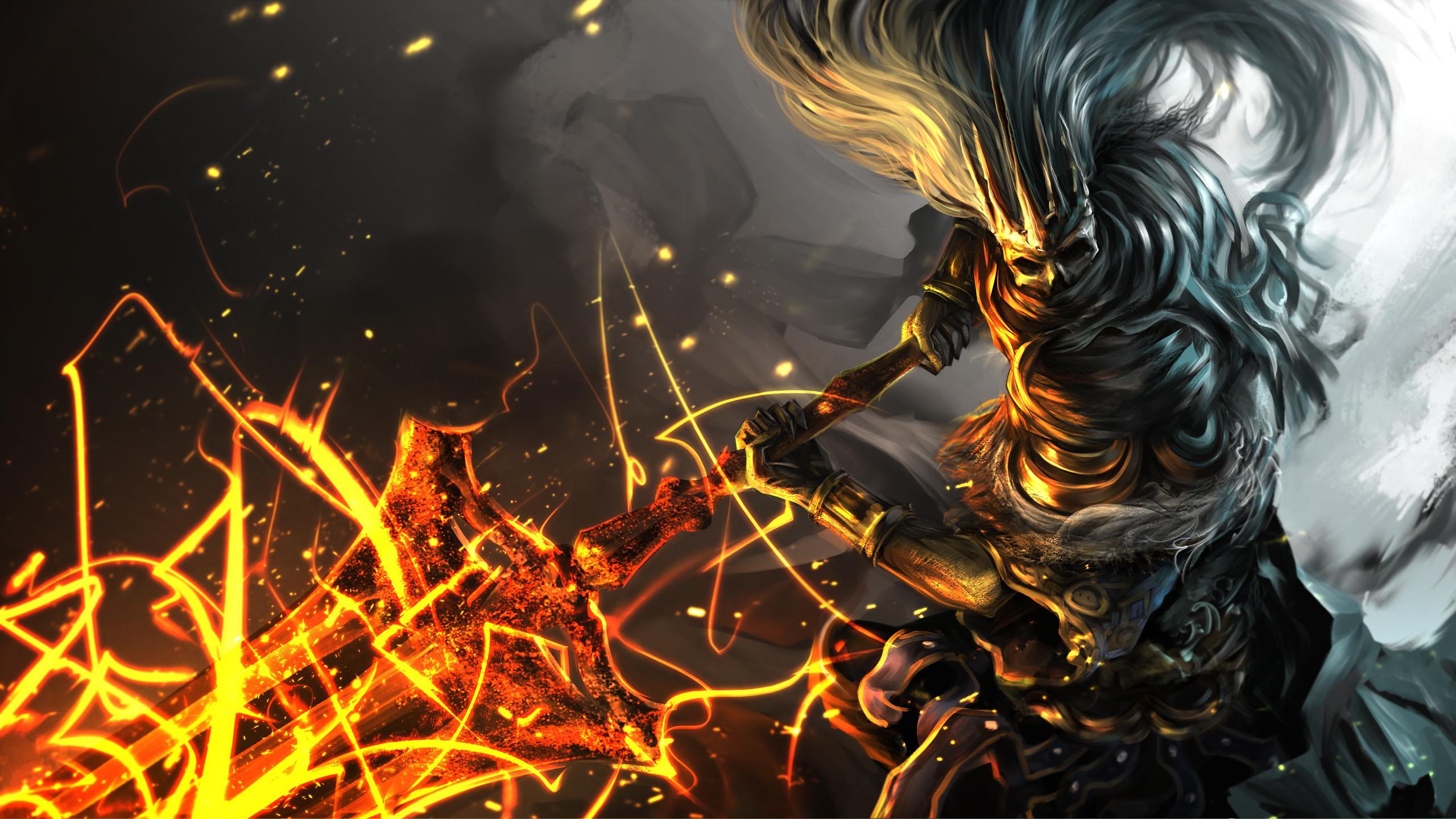 Desktop Wallpapers Dark Souls Swords Warriors Fanart 3 2560x1440