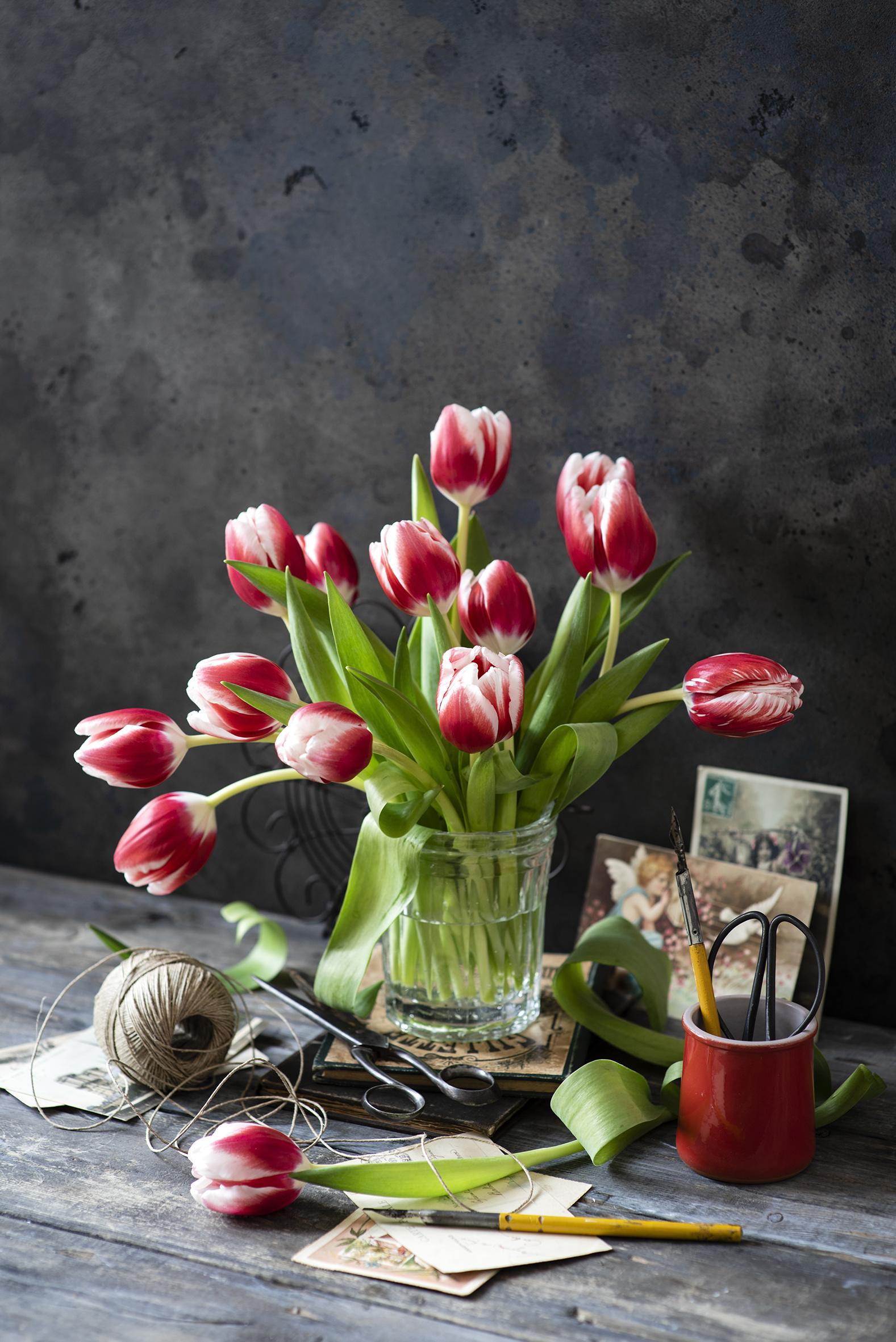 Fotos Tulpen Blüte Vase Stillleben Bretter  für Handy Blumen