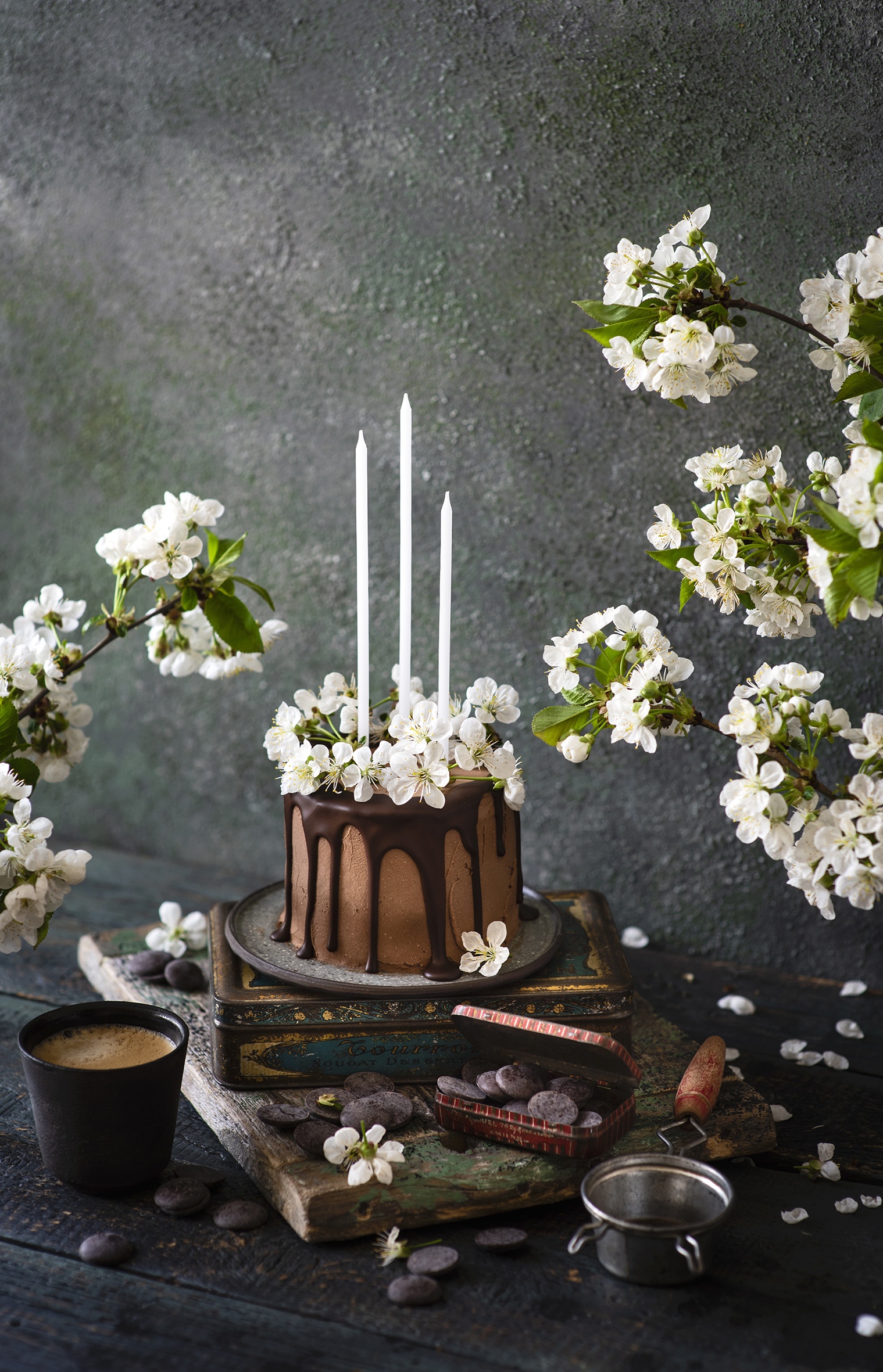 Image Chocolate Cakes Coffee Cappuccino Highball glass Food Candles Flowering trees  for Mobile phone Torte