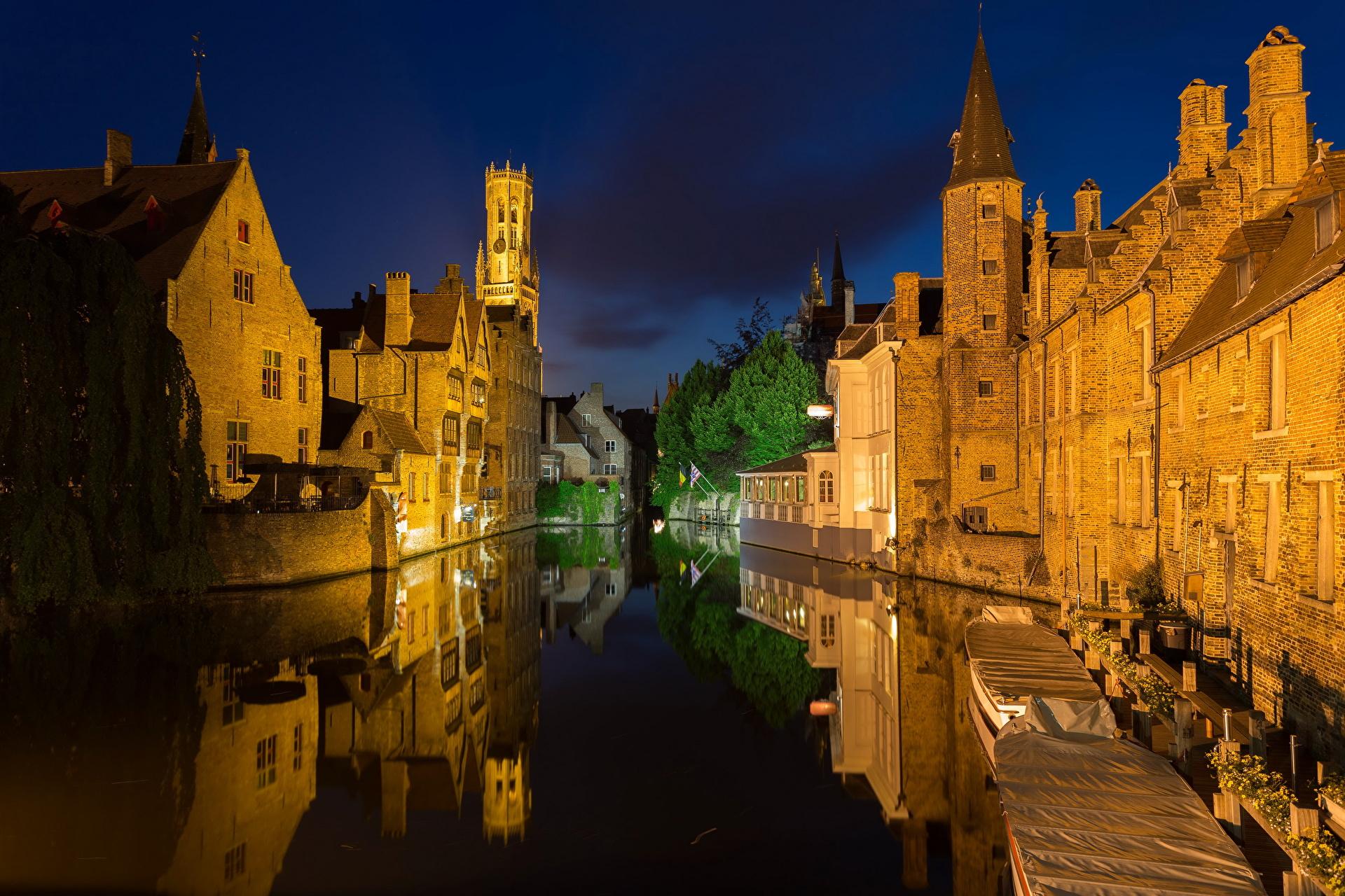 Обои канал, бельгия, брюгге, дома, ночь. Города foto 10