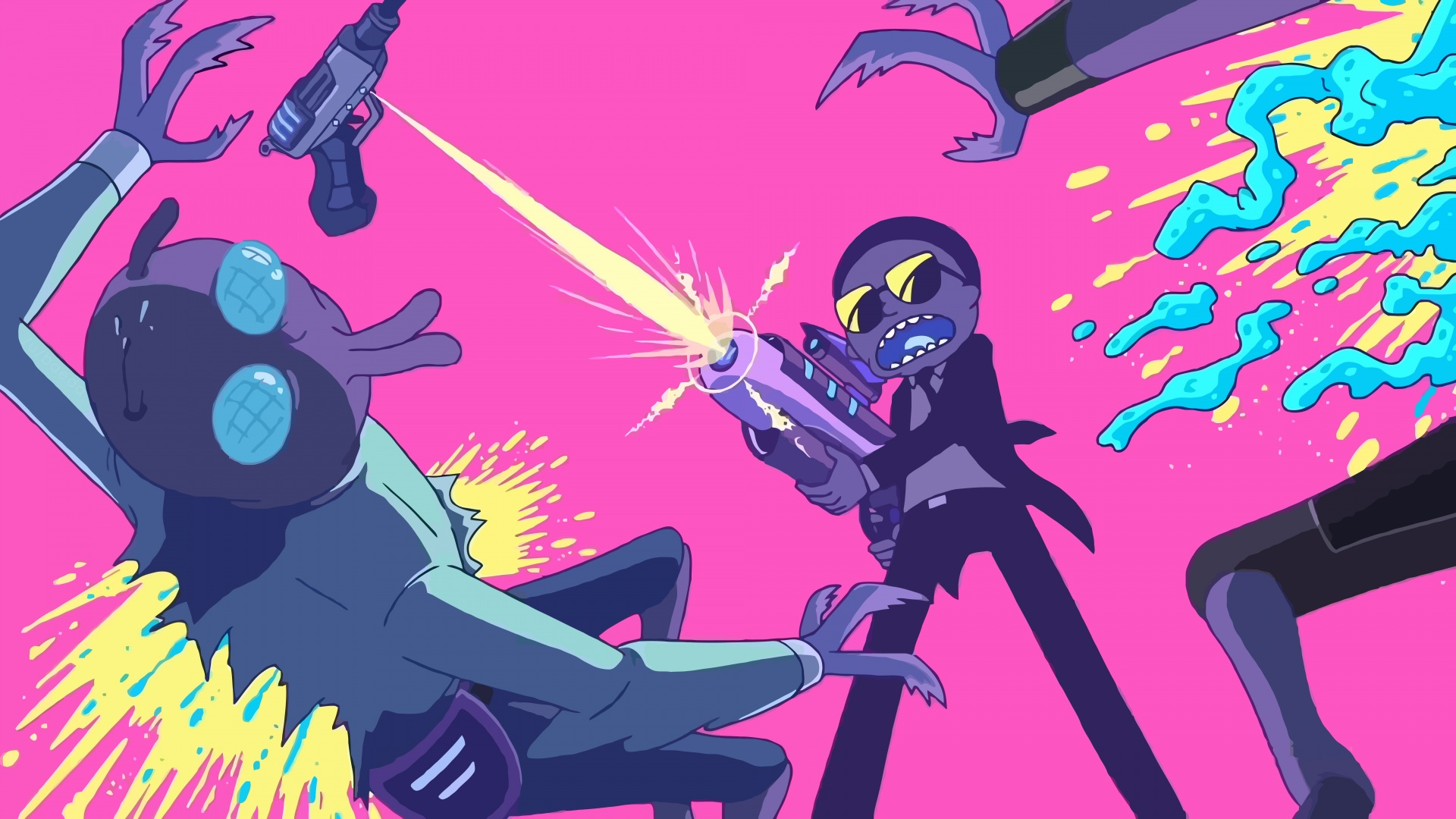 Picture Boys Firing Aliens Rick And Morty Cartoons 1920x1080