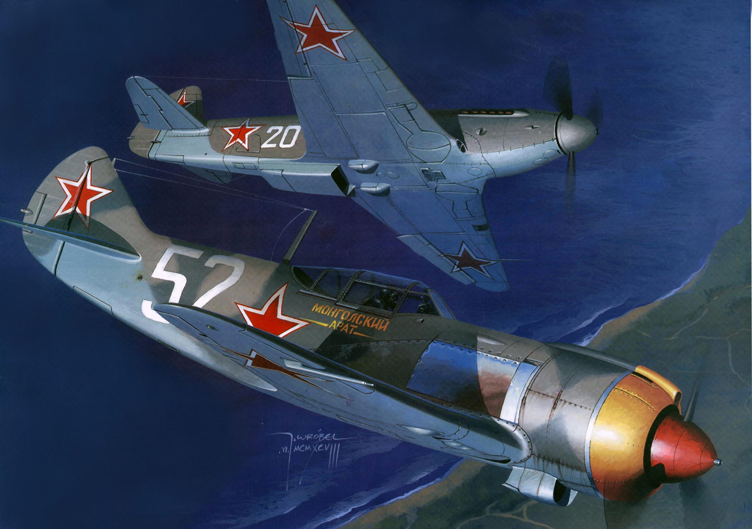 壁紙 2560x1800 飛行機 描かれた壁紙 Jak 9p La 5fn 航空