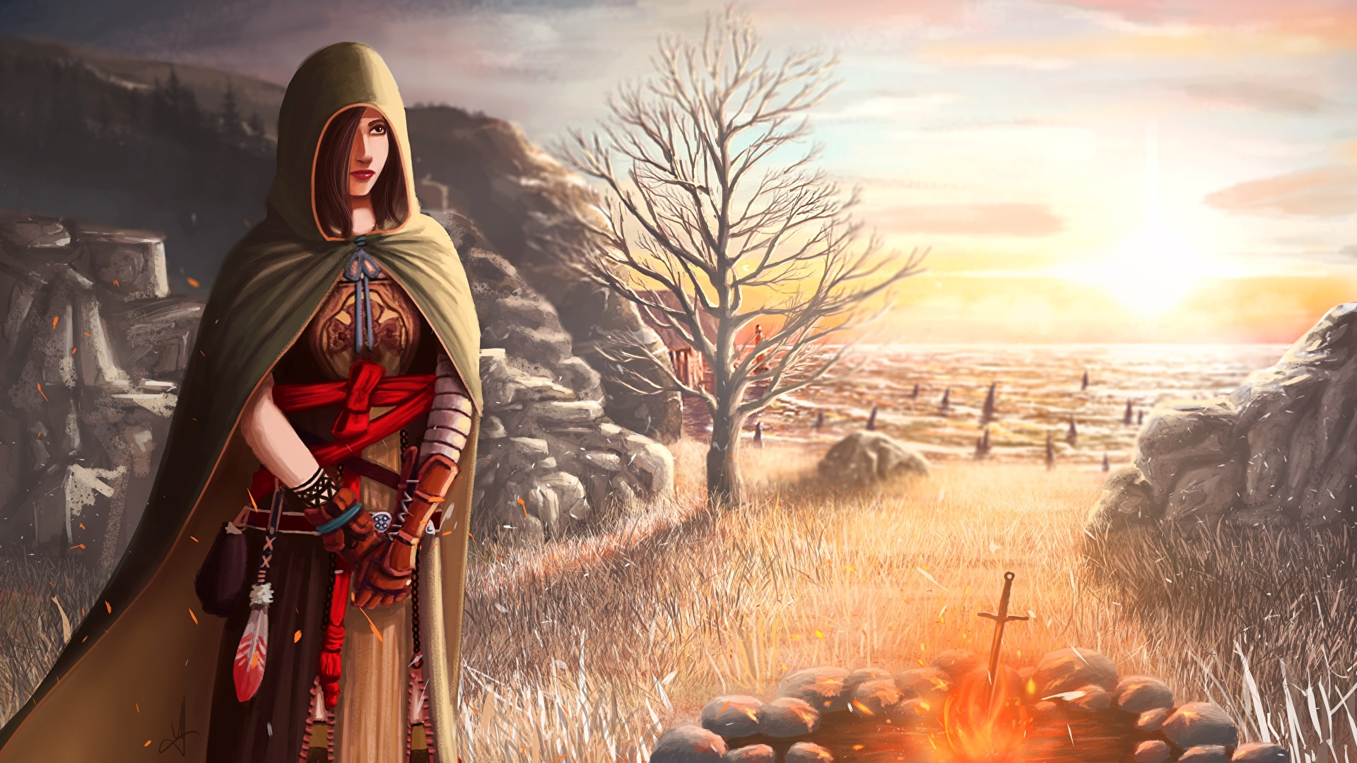 Pictures Dark Souls Brown Haired Bonfire 2 Majula Female 1920x1080