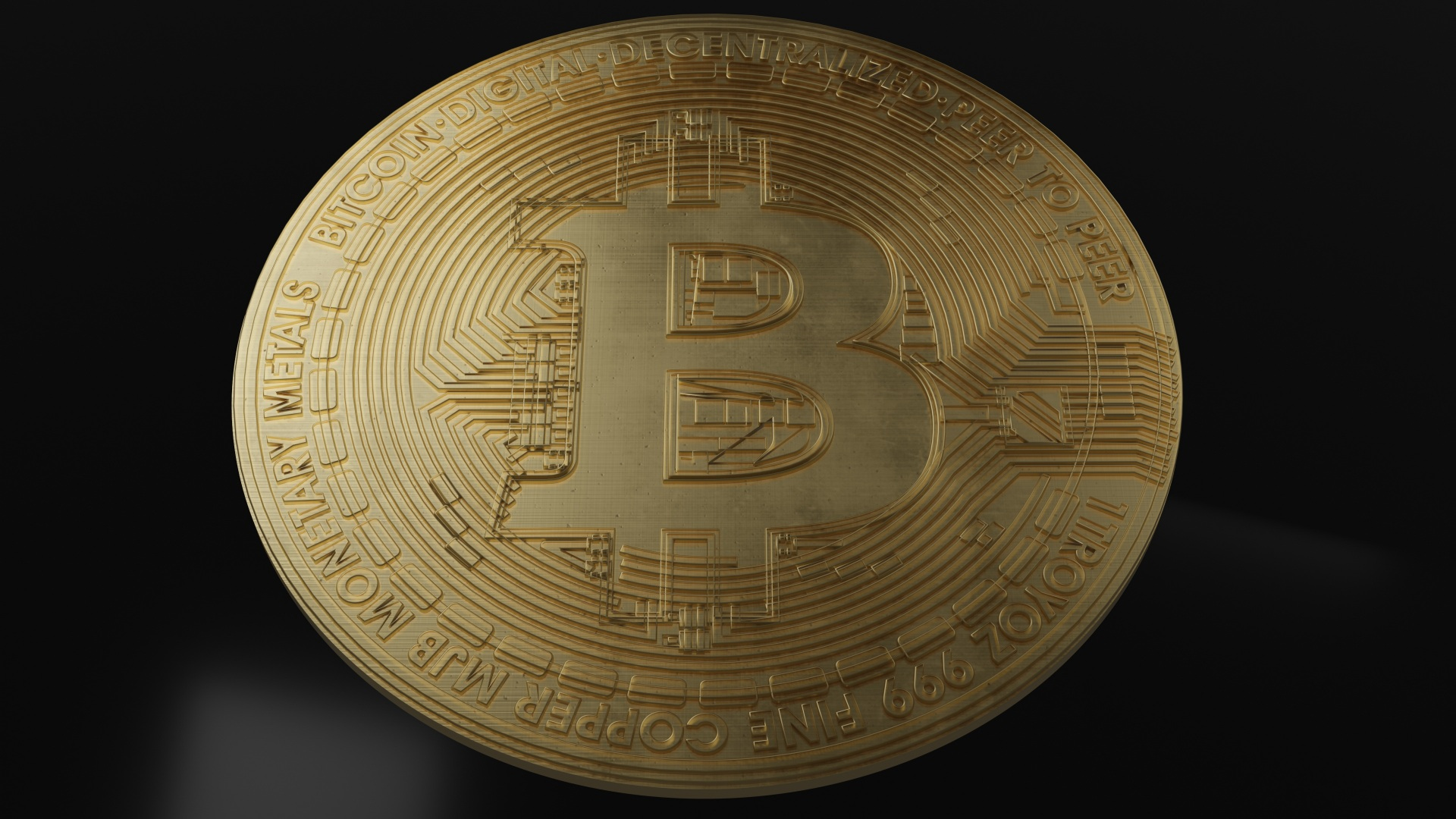 Fotos von Münze Bitcoin Gold Farbe Geld Nahaufnahme 1920x1080 hautnah Großansicht