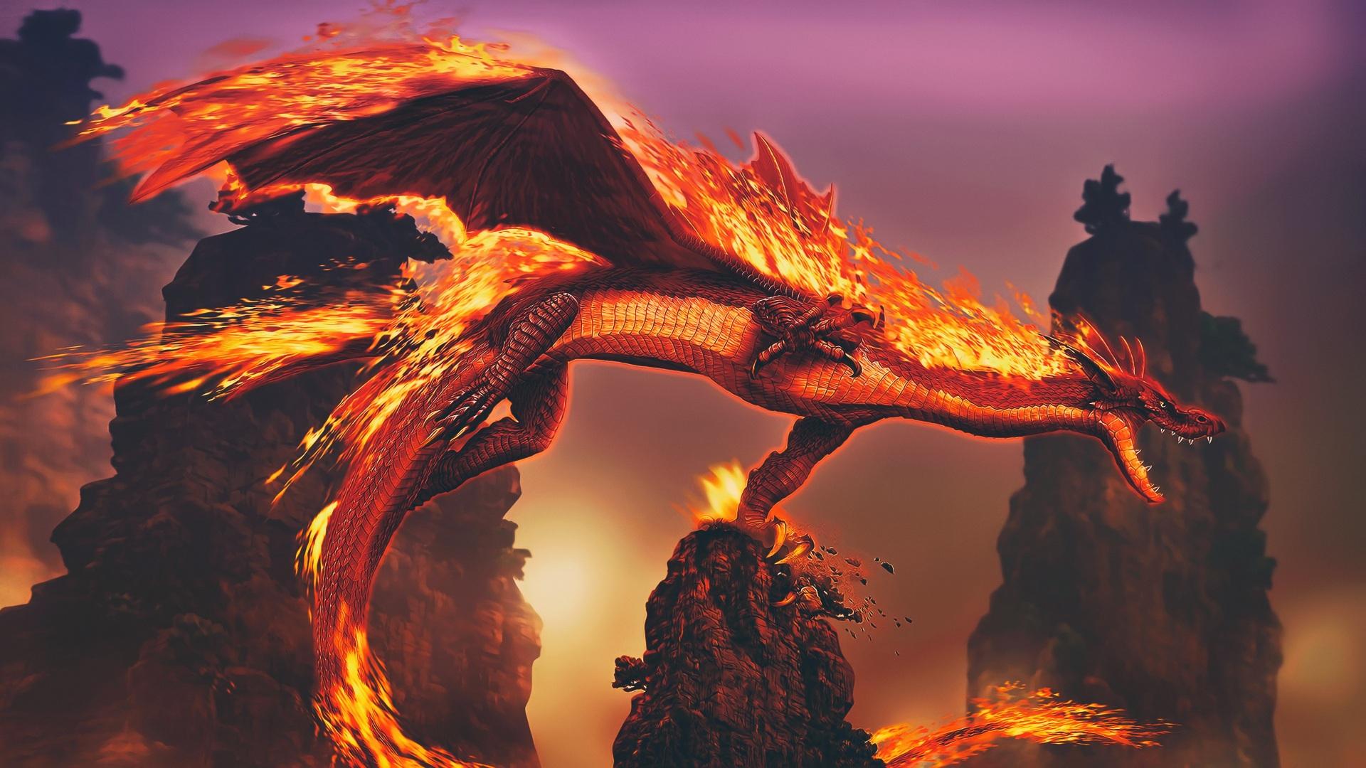 Fonds Decran 1920x1080 Dragons Feu 3d Graphiques Fantasy
