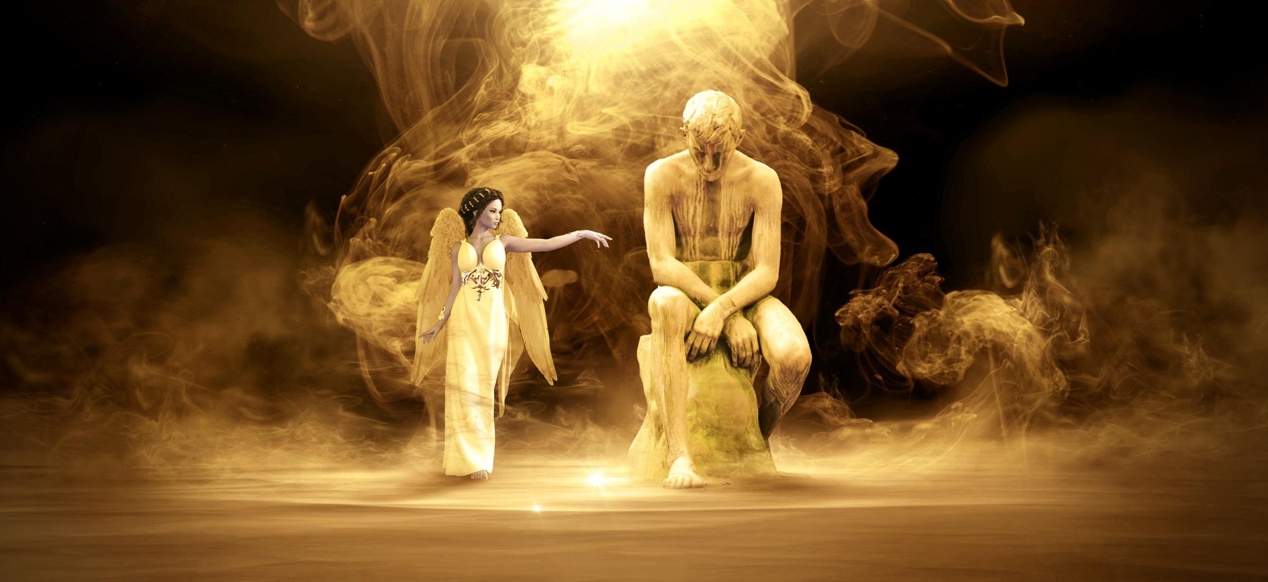 Bilder Mann Fantasy 3D-Grafik Mädchens Engeln Rauch sitzen Skulpturen Kleid 2560x1176 sitzt Sitzend