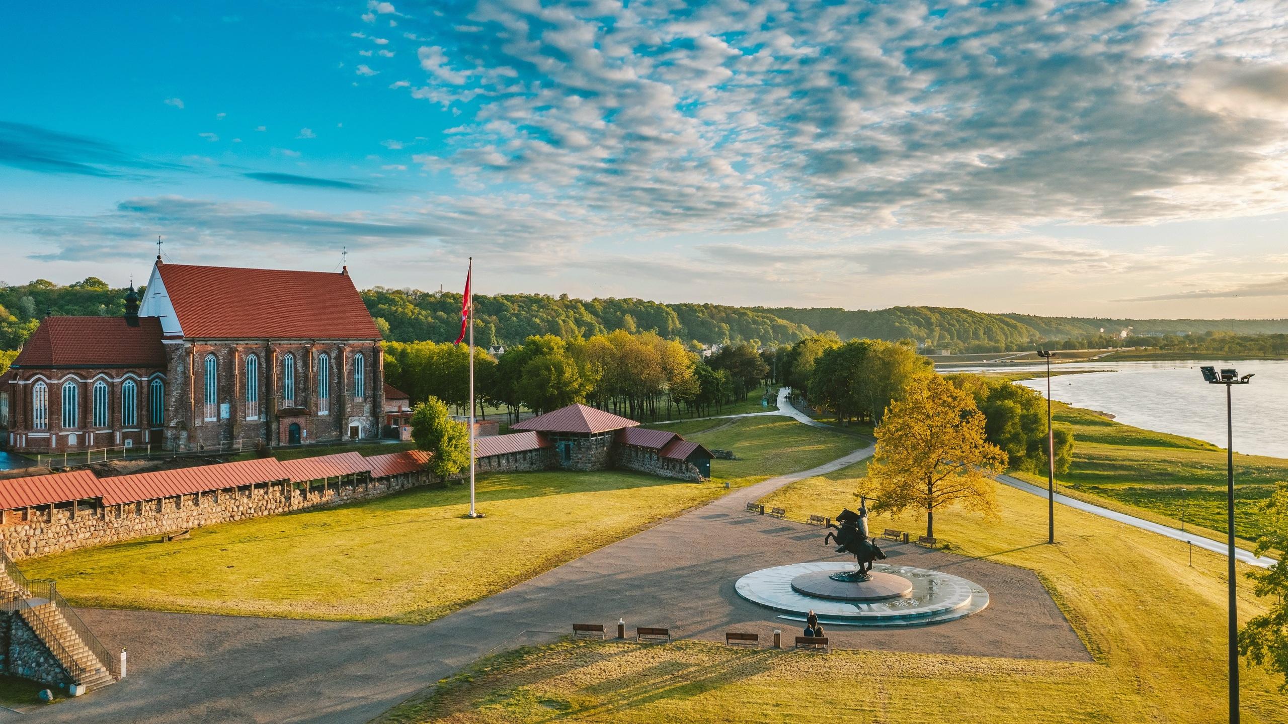 Foto Städte Litauen Denkmal Santaka Kaunas Zaun 2560x1440