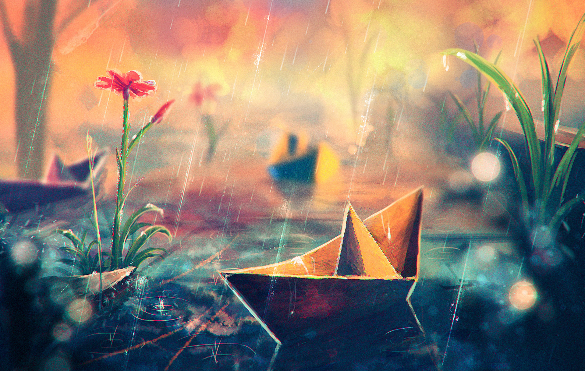 Images Origami Paper Boat Fantasy Rain Flower 2560x1625