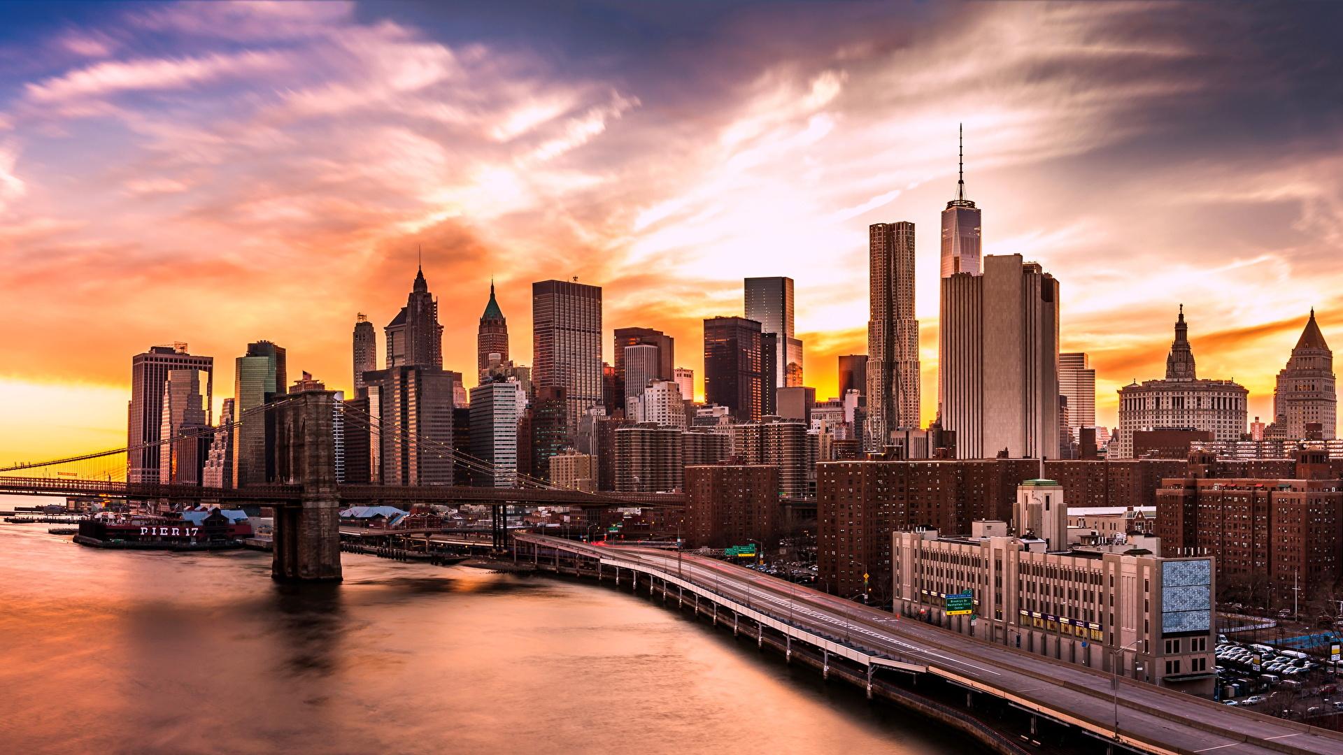 Photo Manhattan New York City Usa Brooklyn Bridge Coast 1920x1080