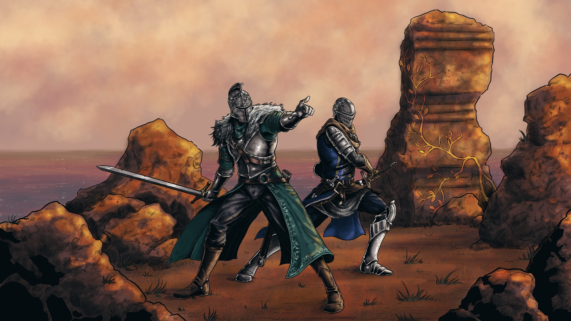 Desktop Wallpapers Fantasy Dark Souls Swords Knight 1920x1080