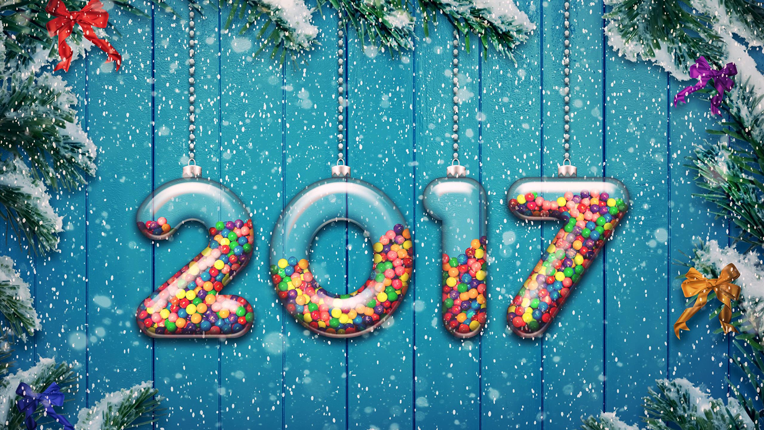Wallpaper 2017 Christmas New Year Tree Snow Bowknot 2560x1440
