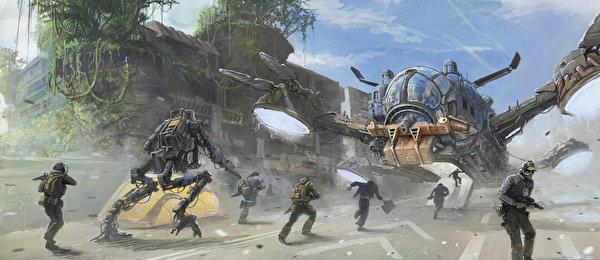 Tapeta roboty Żołnierze mężczyzna Fantasy 600x260 Robot żołnierz Mężczyźni
