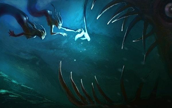Photo Underwater world 2 Fantasy Teeth Supernatural beings 600x378 Two