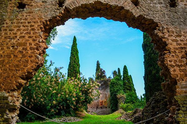 600x400、イタリア、ガーデン、Garden of Ninfa Nettuno、木、低木、庭園、自然、