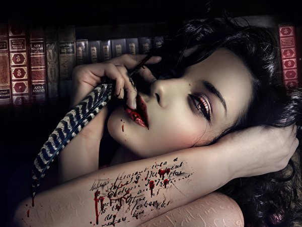 Picture Tattoos Gothic Fantasy Brunette Girl Fatal Letters 600x450