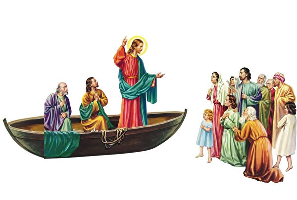 Wallpapers Men Jesus Sermon Boats Religion White Background
