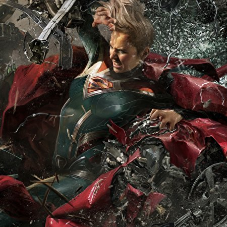450x450 Supergirl Herói Heróis de quadrinhos Injustice 2 jovem mulher, mulheres jovens, moça, videojogo, super-heróis Jogos Fantasia Meninas