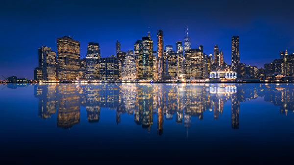 Papel de Parede Desktop EUA Edifício Rio Nova Iorque Manhattan Reflexo Noite