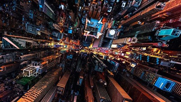 Papel de Parede Desktop Casa Arranha-céus EUA De acima Nova Iorque Megalópolis