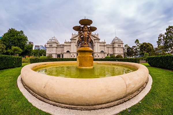Foto's Melbourne Australië fonteinen Natuur park Beeldhouwkunst 600x400 Fontein Parken