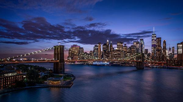 Papel de Parede Desktop Ponte Arranha-céus Edifício Estados Unidos Nova Iorque Manhattan Brooklyn Bridge