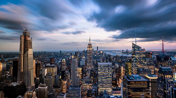 Papel de Parede Desktop Edifício Arranha-céus Estados Unidos Nova Iorque Megalópolis Empire State Building