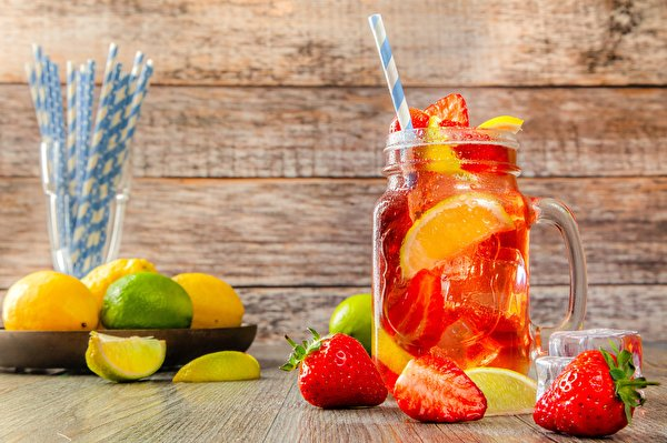 Pictures Lemonade Jar Strawberry Food 600x399