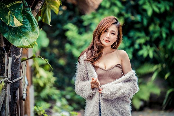 Fotos Braune Haare junge frau Asiaten Blick 600x400 Braunhaarige Mädchens junge Frauen Asiatische asiatisches Starren